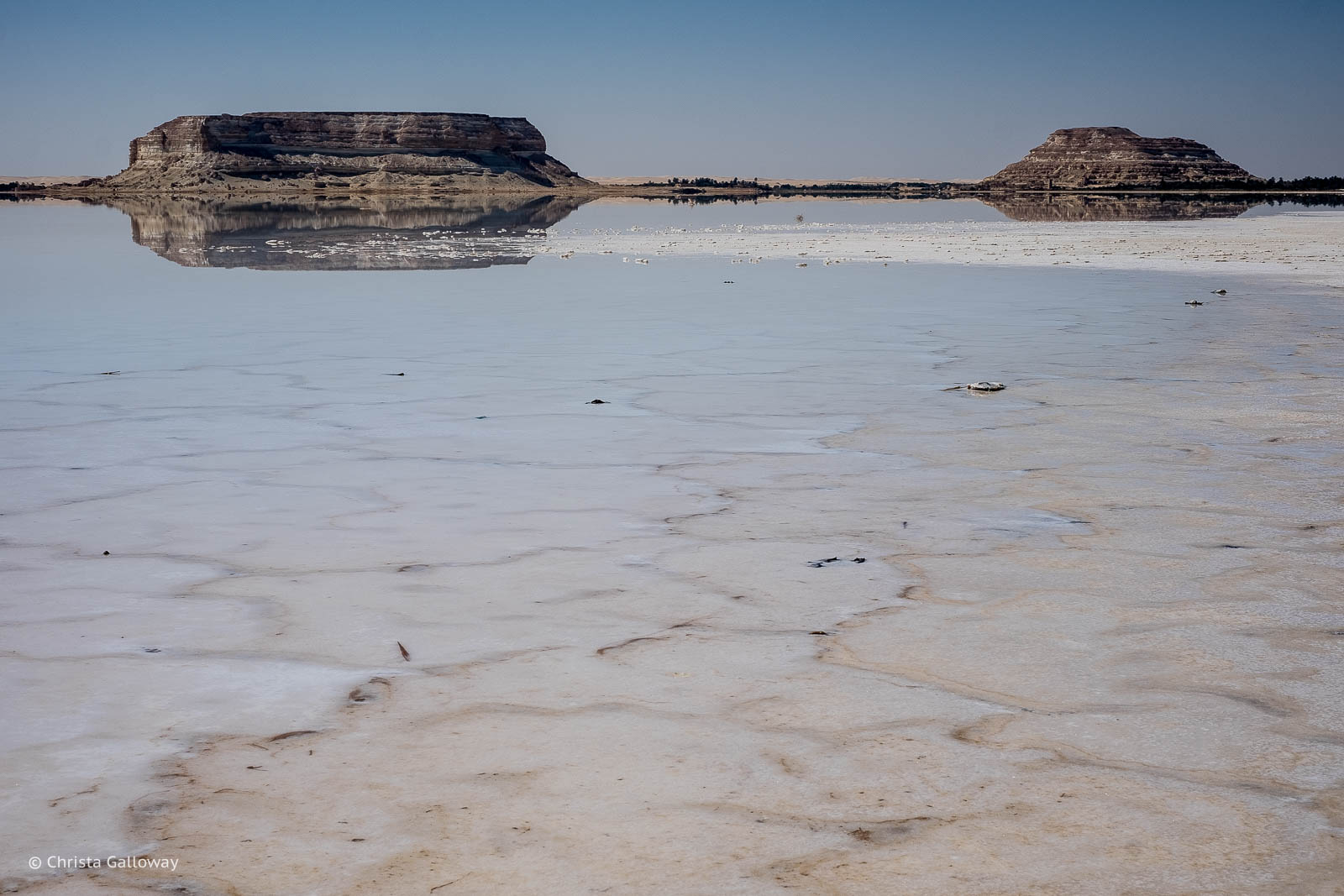 The salt-rimmed Siwa Lake near Siwa, Egypt.
