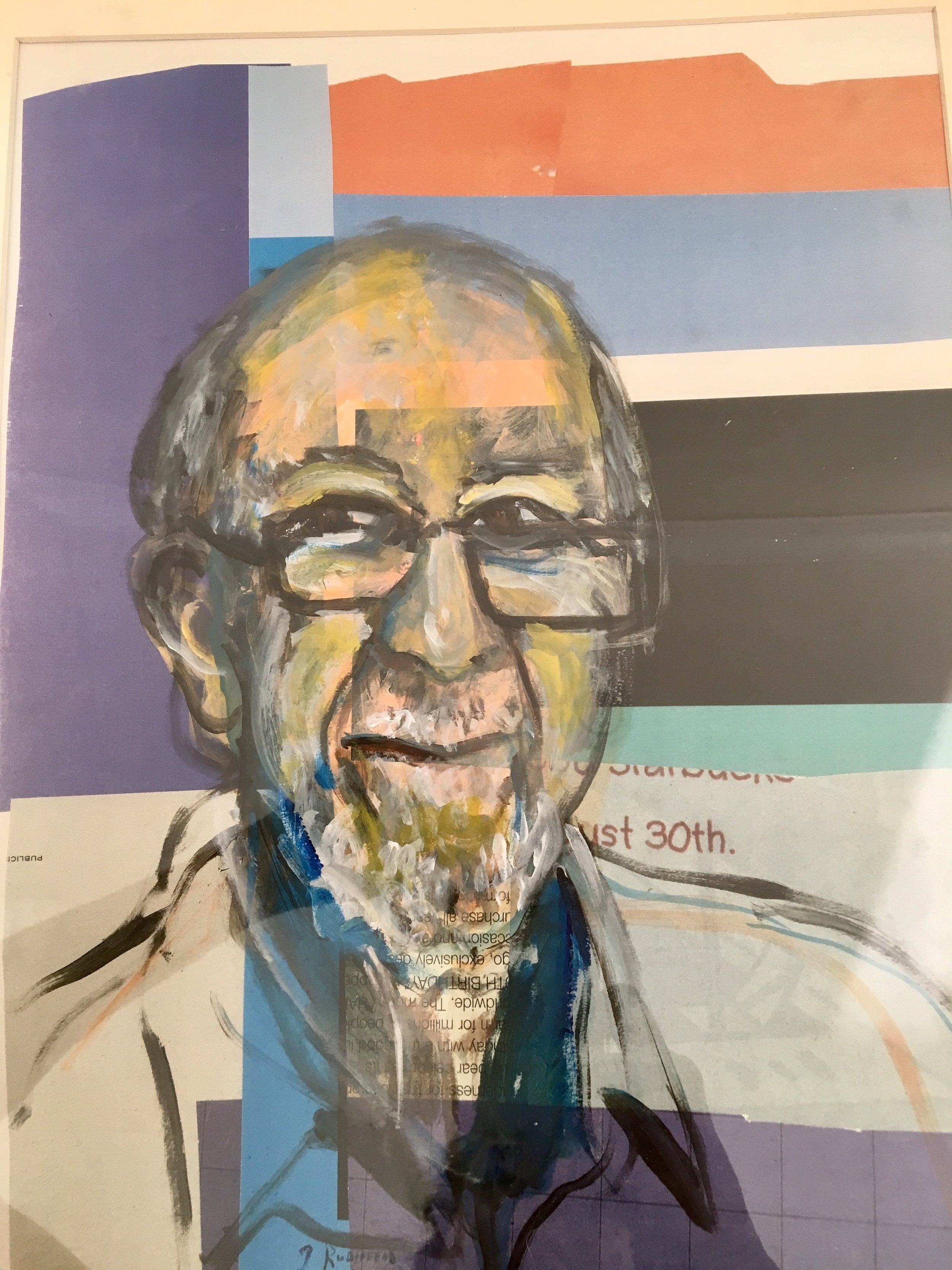 """Harold Winer, Teacher, Mentor"" 24x18 mixed media, collage and acyrlic"