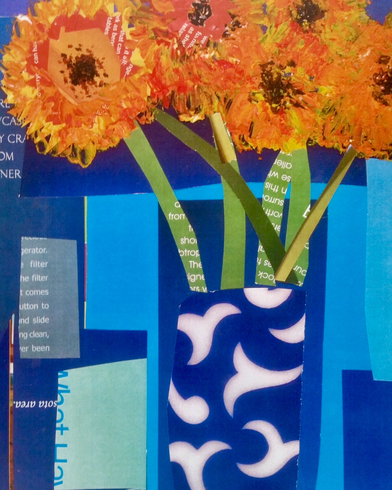 """""""Sunflowers in Blue Vase"""" Collage 10x8"""""""