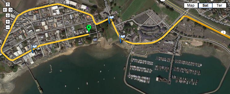 Map of race coursererouted onto Highway 1 to avoid Pillar Point Harbor, major traffic backup occurred.