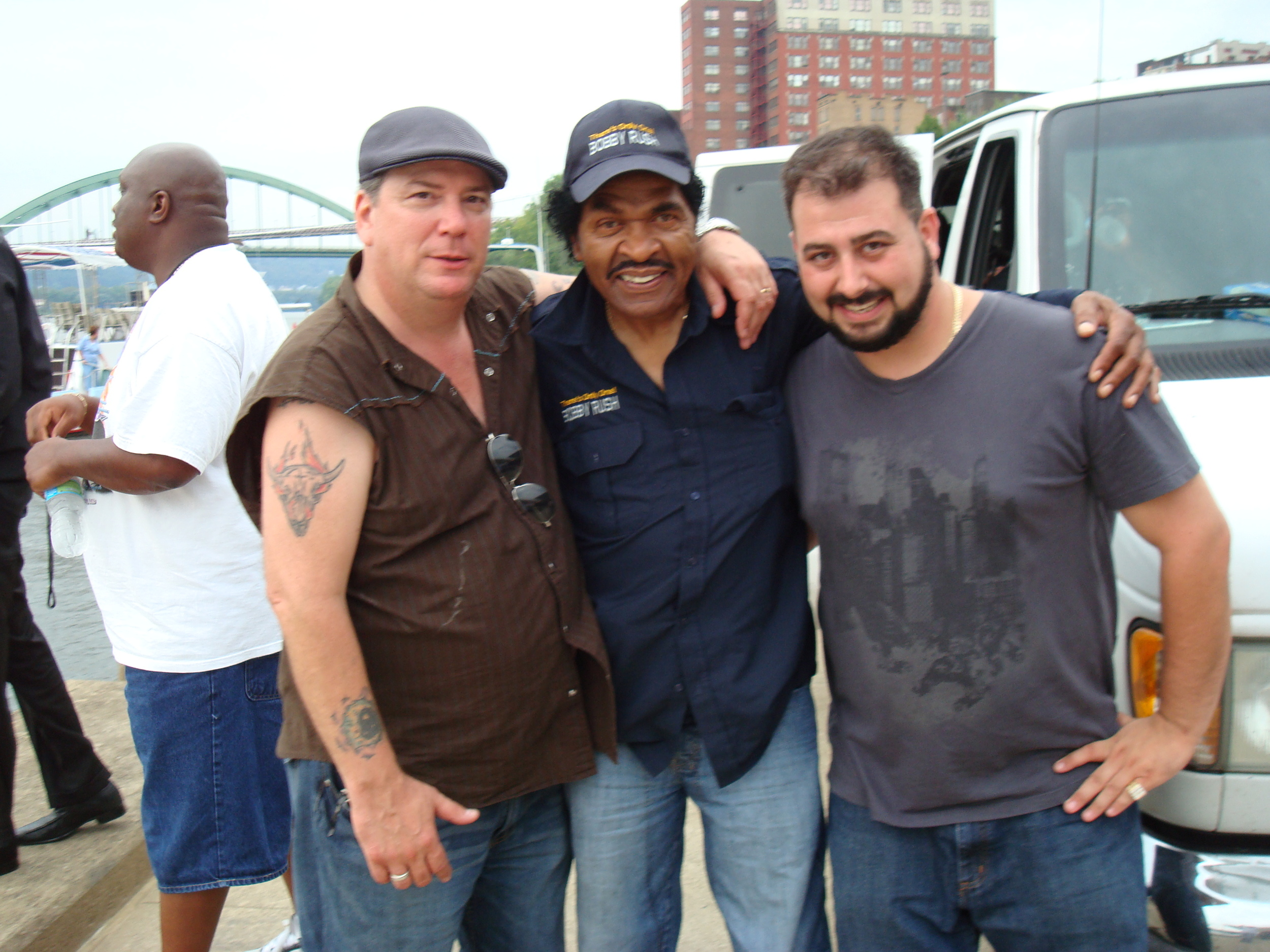 Heritage Blues Festival 2009 Mikey Junior & Kenny Robinson with Bobby Rush.JPG