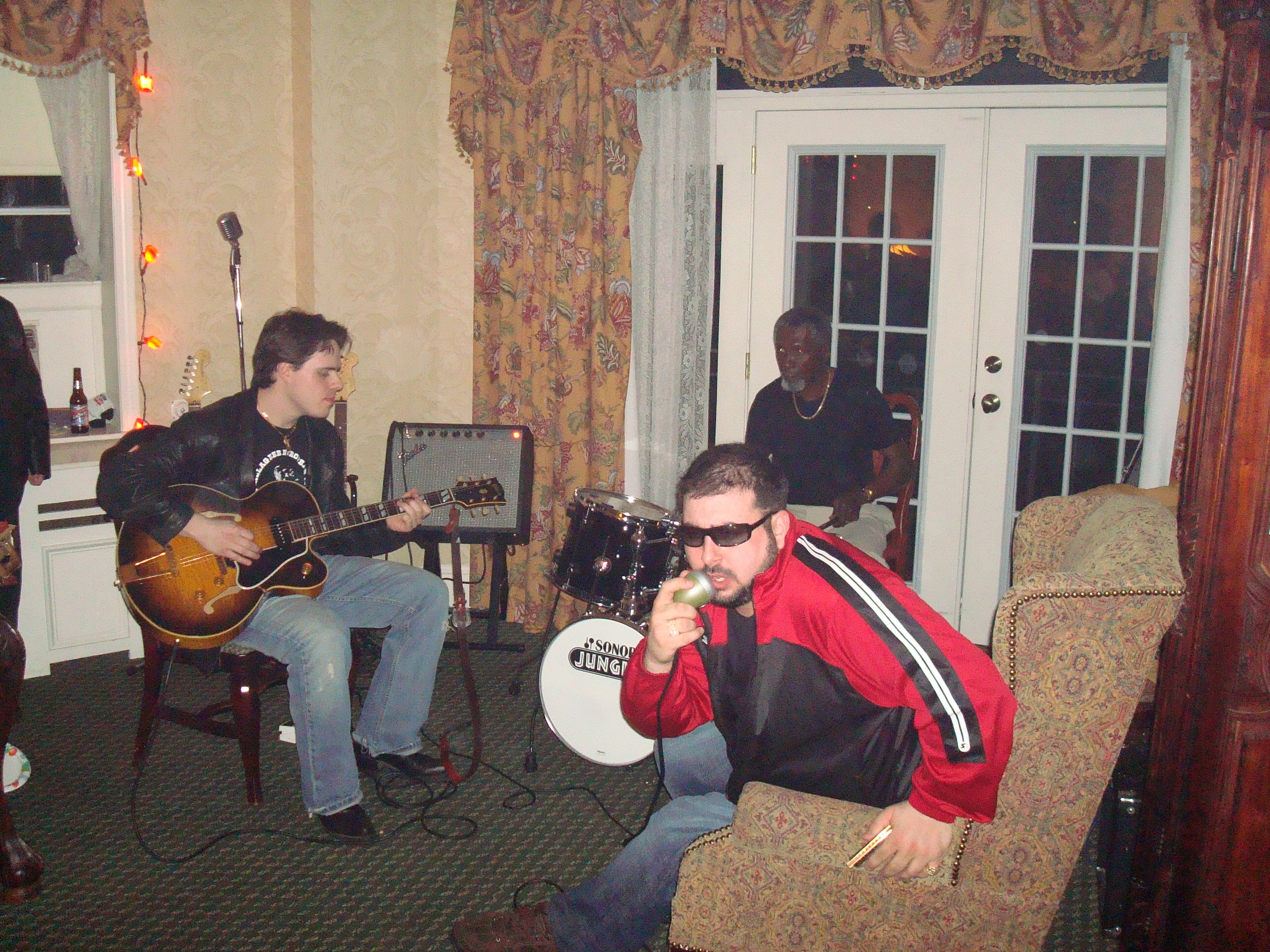 Matt Daniels & Mikey Jr. with Holmes Brother Popsy Dixon at the Marietta Blues Fest After Party March 2008 Marietta, OH.JPG