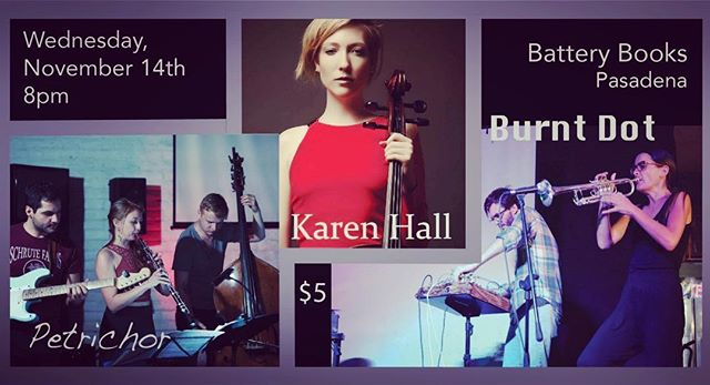 I made a show because I wanted to hear all of these humans make sounds in one evening for my and your enjoyment! Those who like books and being serenaded while reading them, this one's especially for you. I'm very excited to hear these people and I hope you'll come hang. . . . #bach #improvisation #improv #chambermusic #music #musician #musiciansofinstagram #oboe #bass #guitar #cello #trumpet #electronics #freeimprov #books #bookstore #trio #duo #newmusic