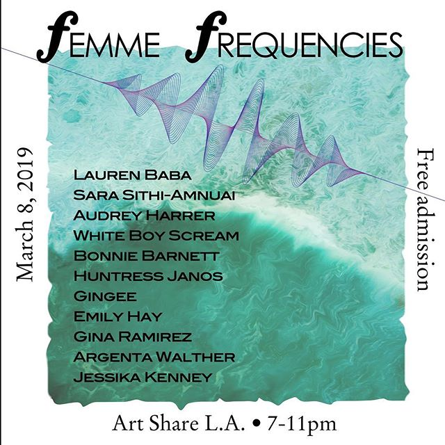 """In honor of 2019 International Women's Day, Femme Frequencies is a one-night music festival featuring artists from a myriad of music-making disciplines. Femme Frequencies celebrates spontaneous creation, experimental expression, and music for inner and outer harmony.  While this is a FREE event, we will be collecting donations of money and clothing for Downtown Women's Center, which provides support for women in Los Angeles experiencing homelessness. For clothing and other product donations, you can find a list of what they need and their Amazon wish list here: https://www.downtownwomenscenter.org/donate-goods/  This evening will also be the opening of Art Share's March gallery exhibit """"Female Gaze"""". If you would like to donate in advance, Femme Frequencies is a sponsored project of Fractured Atlas, a 501(c)3 arts service organization, and all contributions are tax‐deductible to the extent permitted by law. https://www.fracturedatlas.org/site/fiscal/profile?id=18359  Drinks by Angel City Brewery  Schedule TBA"""