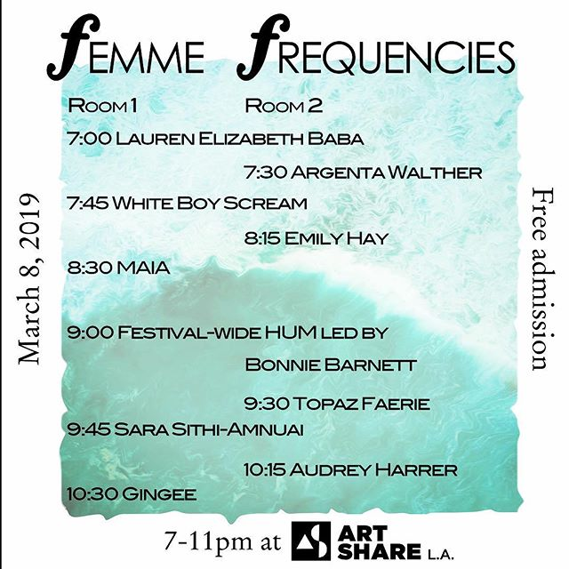 Tomorrow!!! Music, art, BOOZE come hang, we are SO excited to enjoy this night with you 💟 . . . #music #show #internationalwomensday #balanceforbetter #femmefrequencies #concert #downtownwomenscenter #benefit #jazz #classical #art #artgallery #galleryopening #losangeles #womeninmusic #noise #electronicmusic #electronica #dj #flute #oboe #trumpet #bass #harp #cello #voice #sing #opera #hum #soundhealing