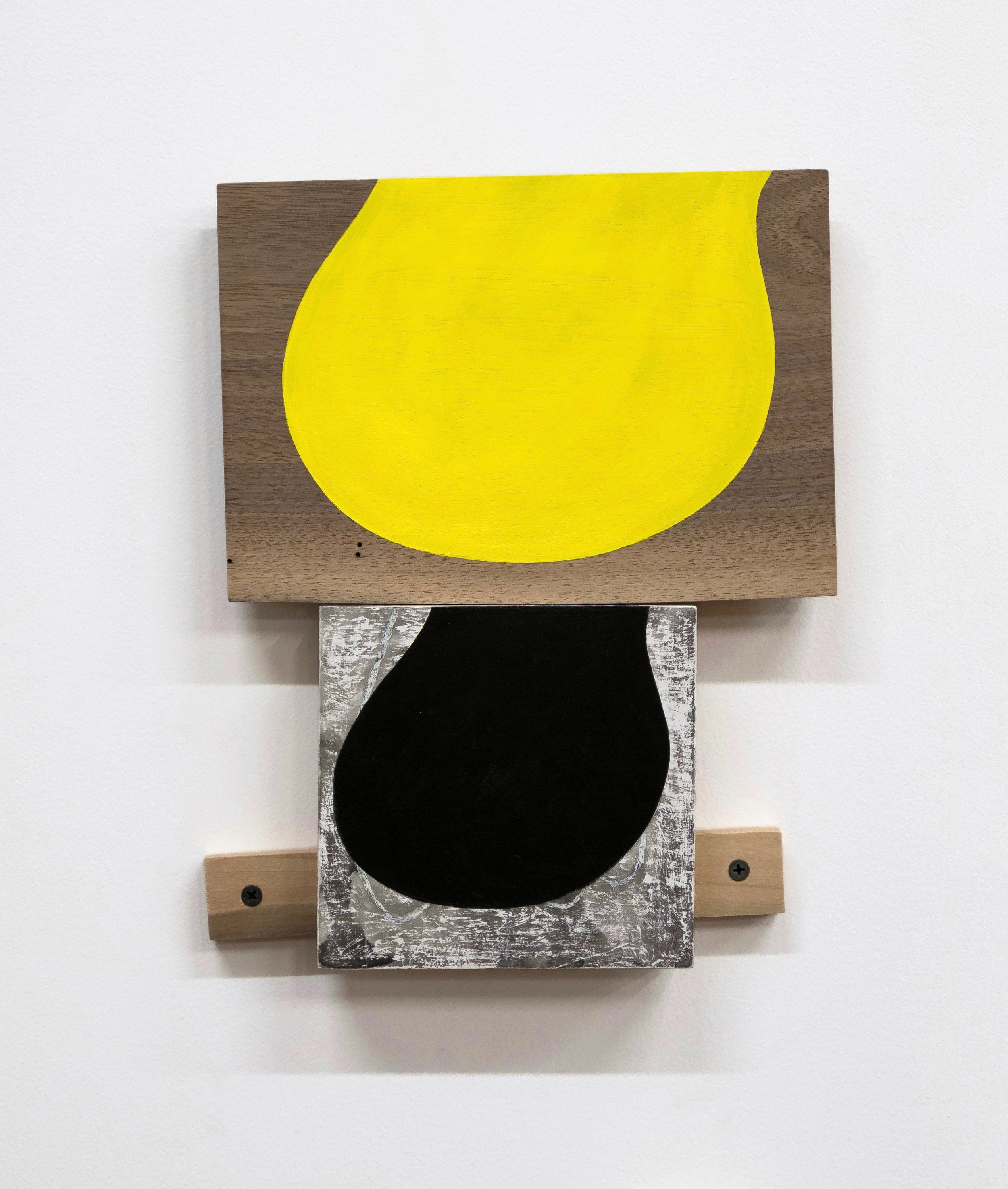 "Untitled, 2019, ink, paint, wood, screws,11-3/4 x 10 x 1-1/4"""