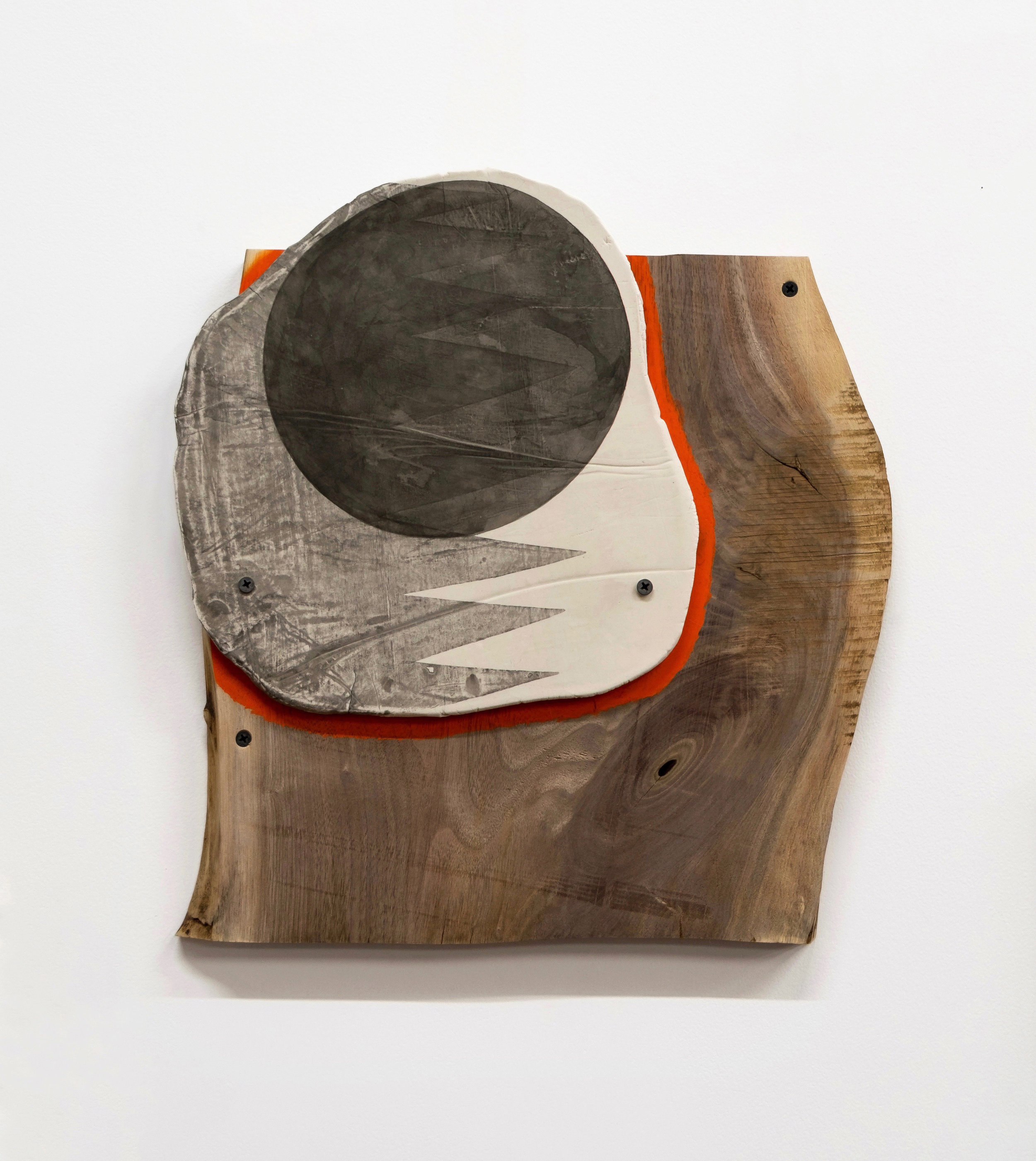 "Untitled, 2019, porcelain, ink, wood, screws, 15 x 15-3/4 x 1-1/4"""