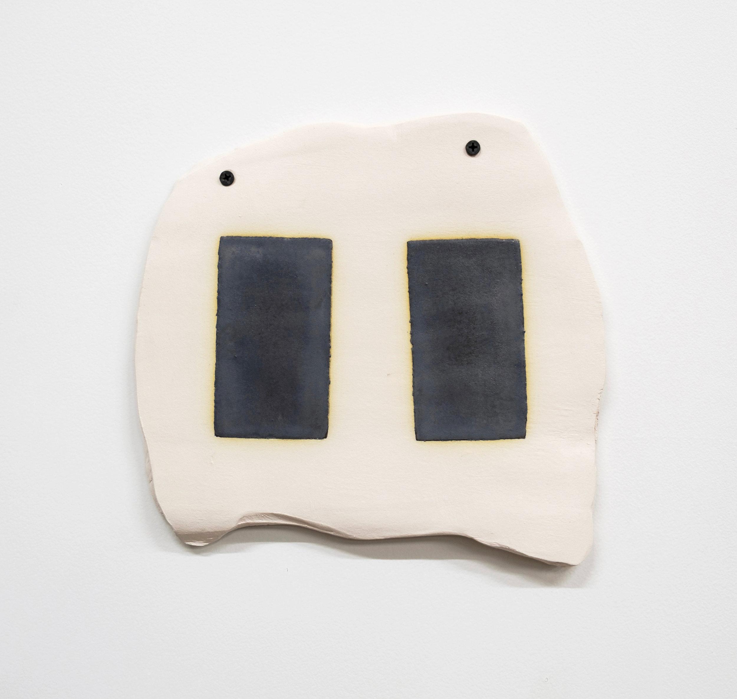 "Untitled, 2019, earthenware, glaze,10-1/2 x 9-1/2 x 1/4"""