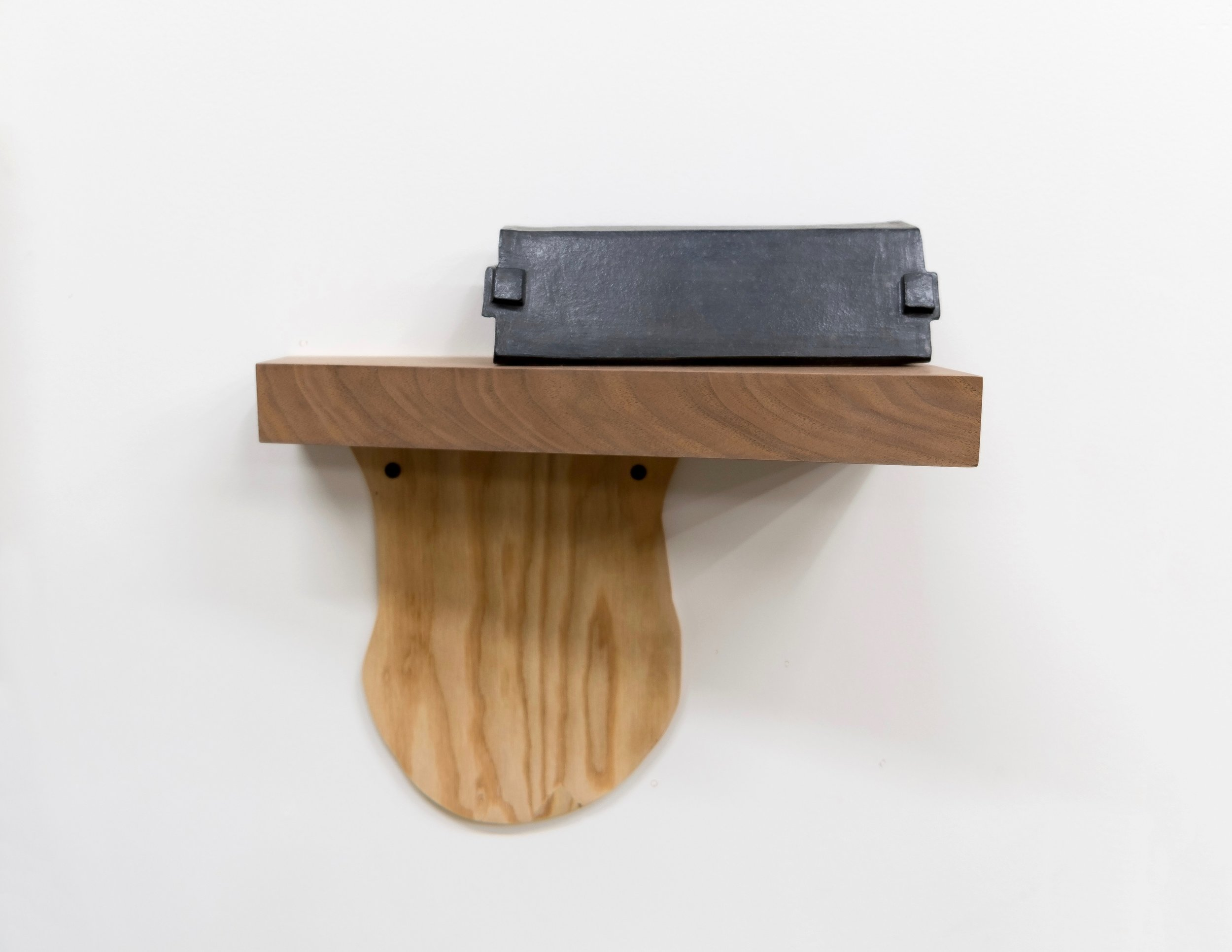 "Untitled, 2019, stoneware, wood, screws, 13 x 12-1/2 x 5-1/2"""