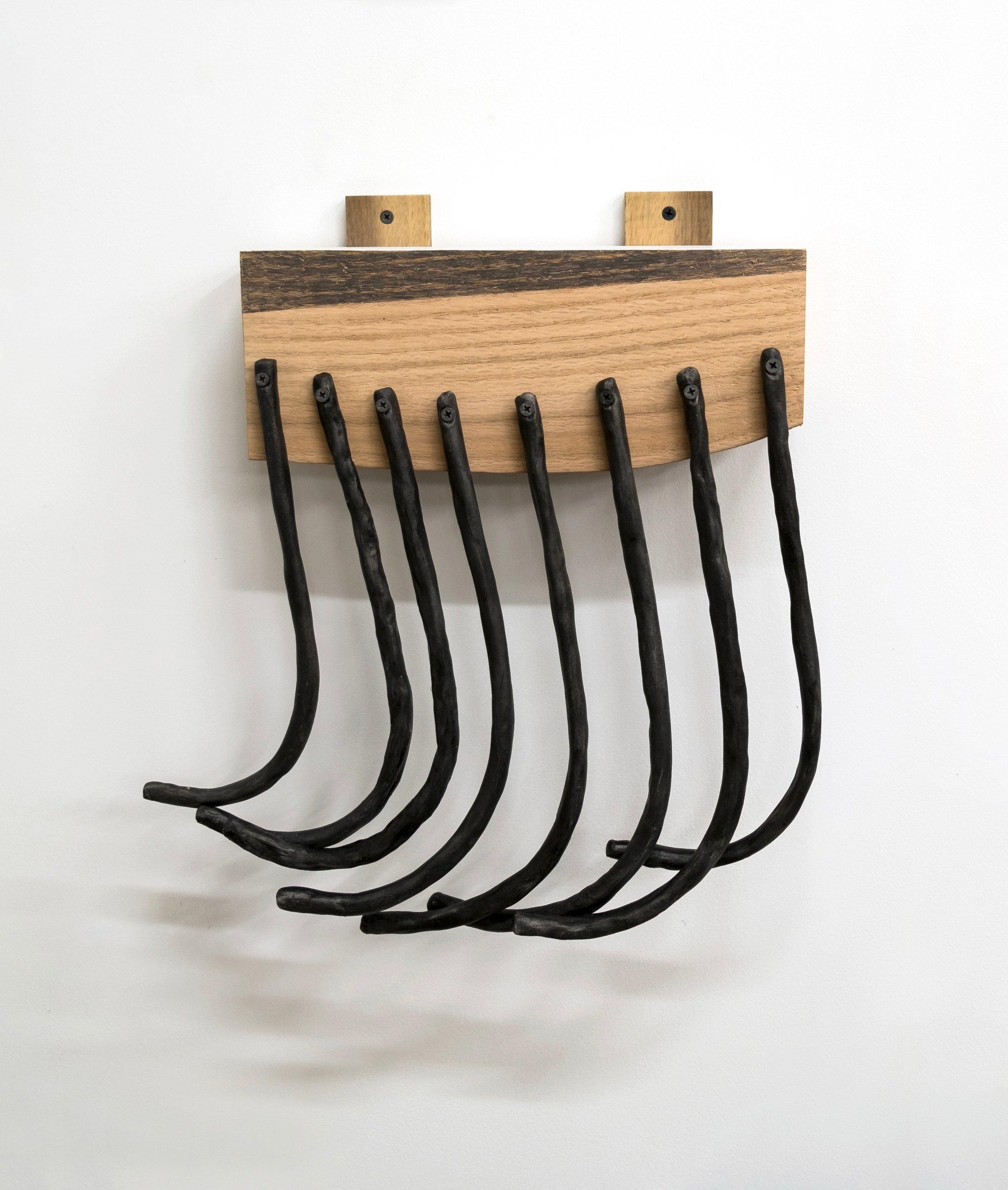 Untitled, 2019, earthenware, ink, wood, screws