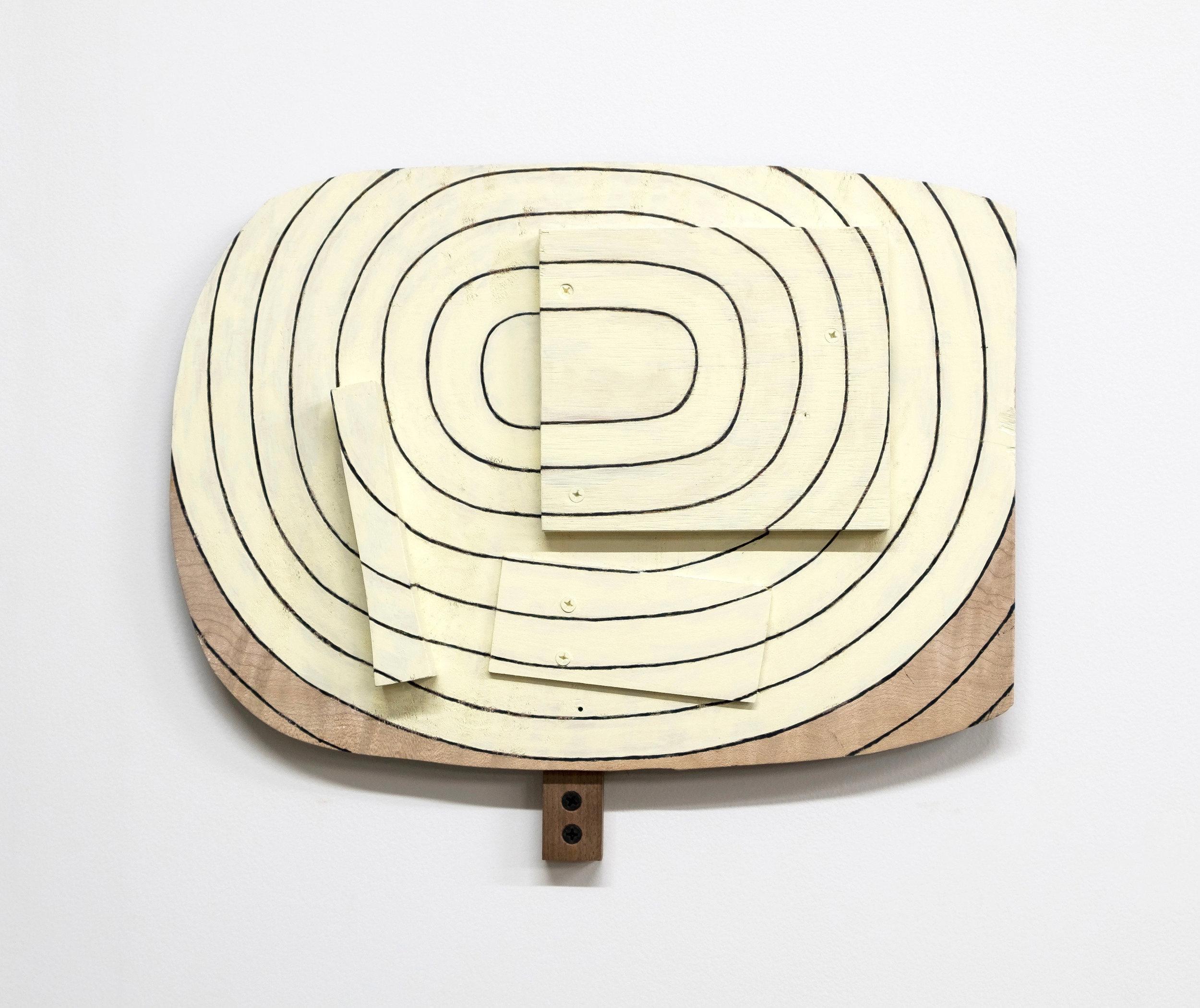 "Untitled, 2019, paint, wood, screws, 12 x 14 x 2"""