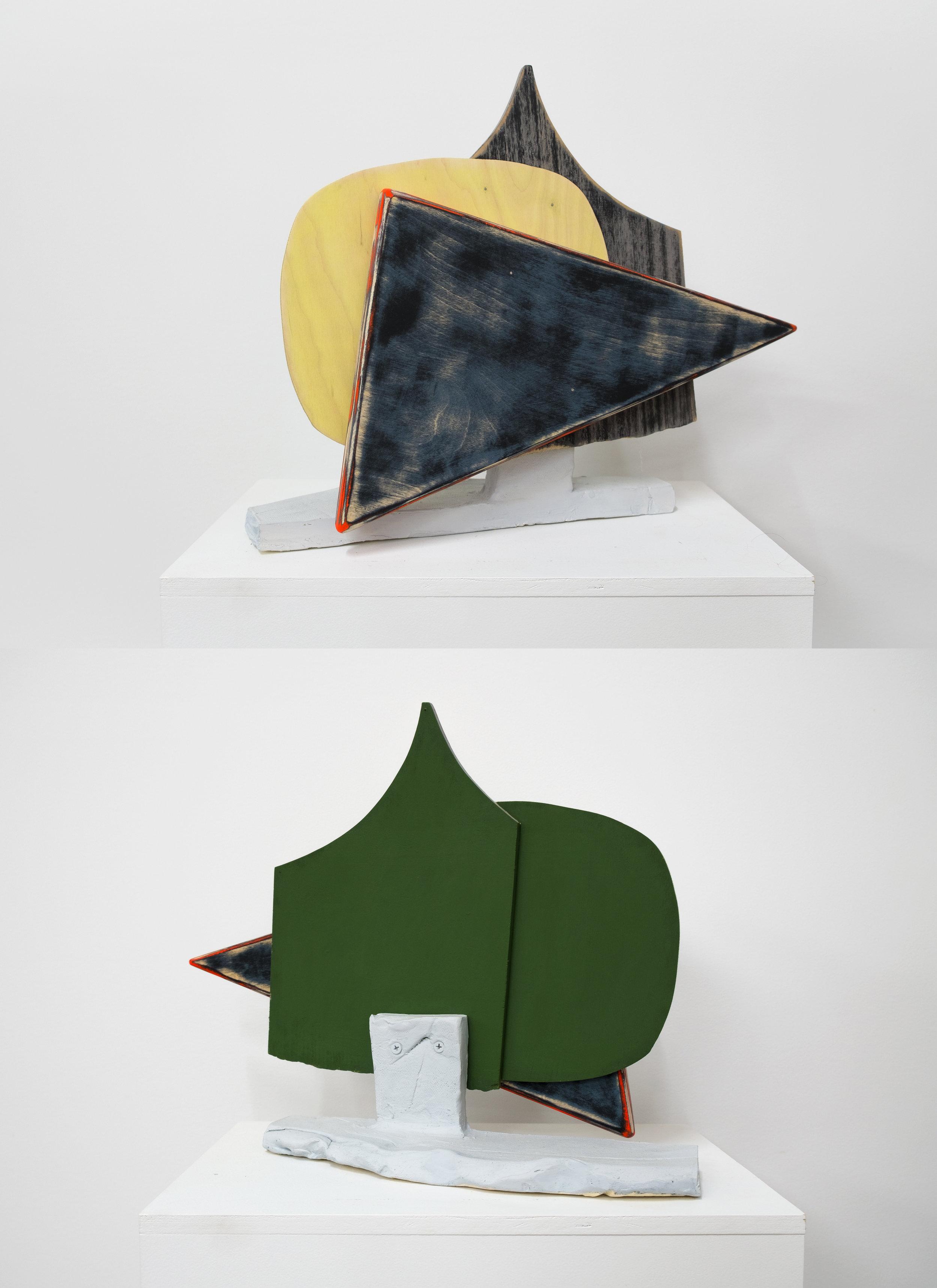 "Untitled, 2016, earthenware, wood, paint, screws, 17-1/2 x 4 x 13-3/4"""