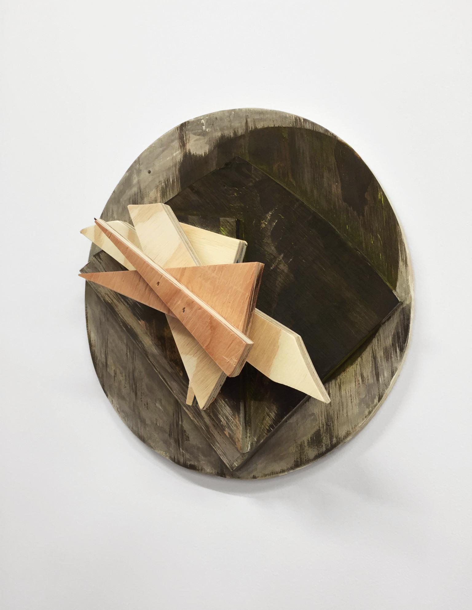"Untitled, 2016, wood, paint, nails, 11 x 11 x 4-1/4"""