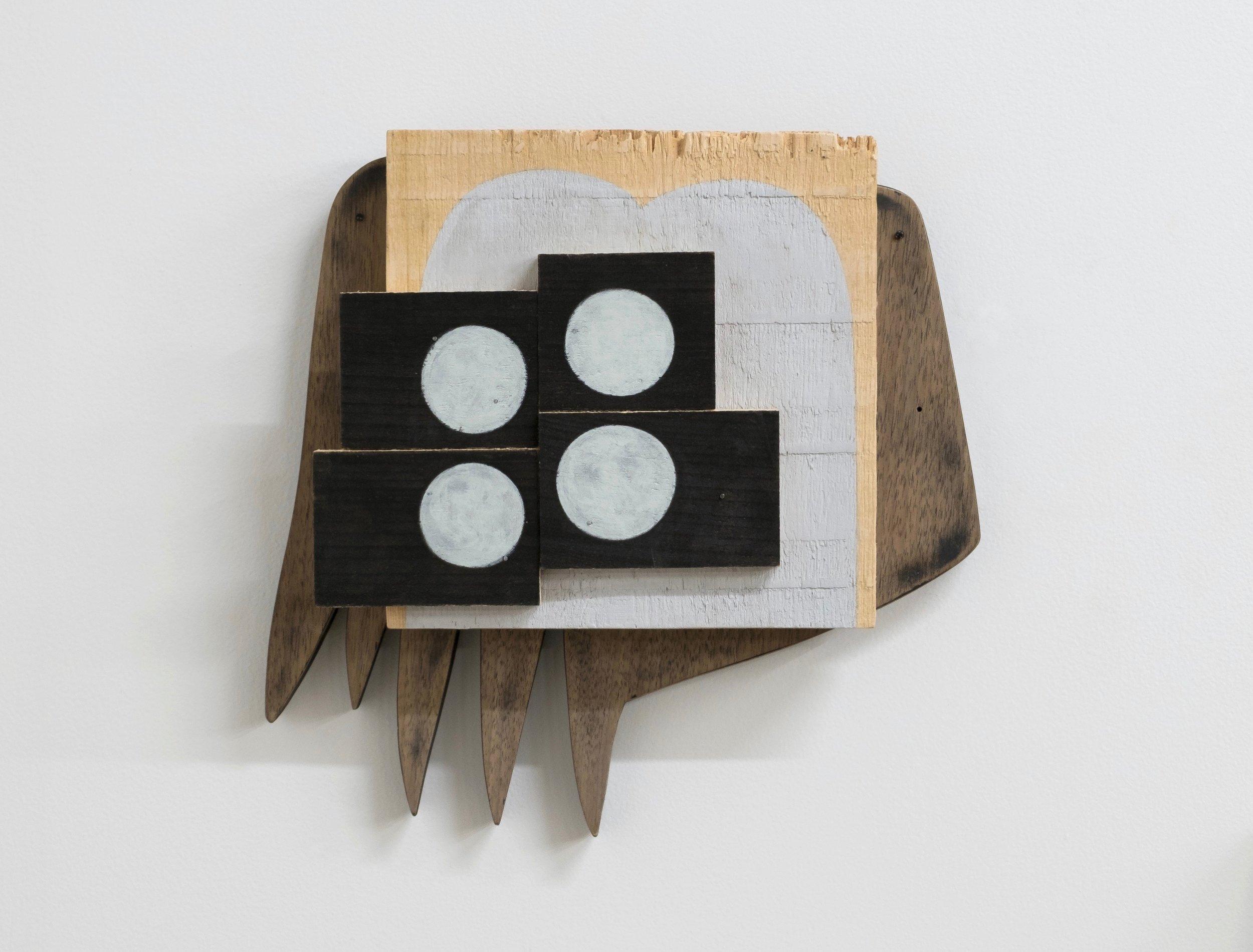 "Anklebone, 2017, wood, nails, screws, 11 x 12 x 2-1/4"""