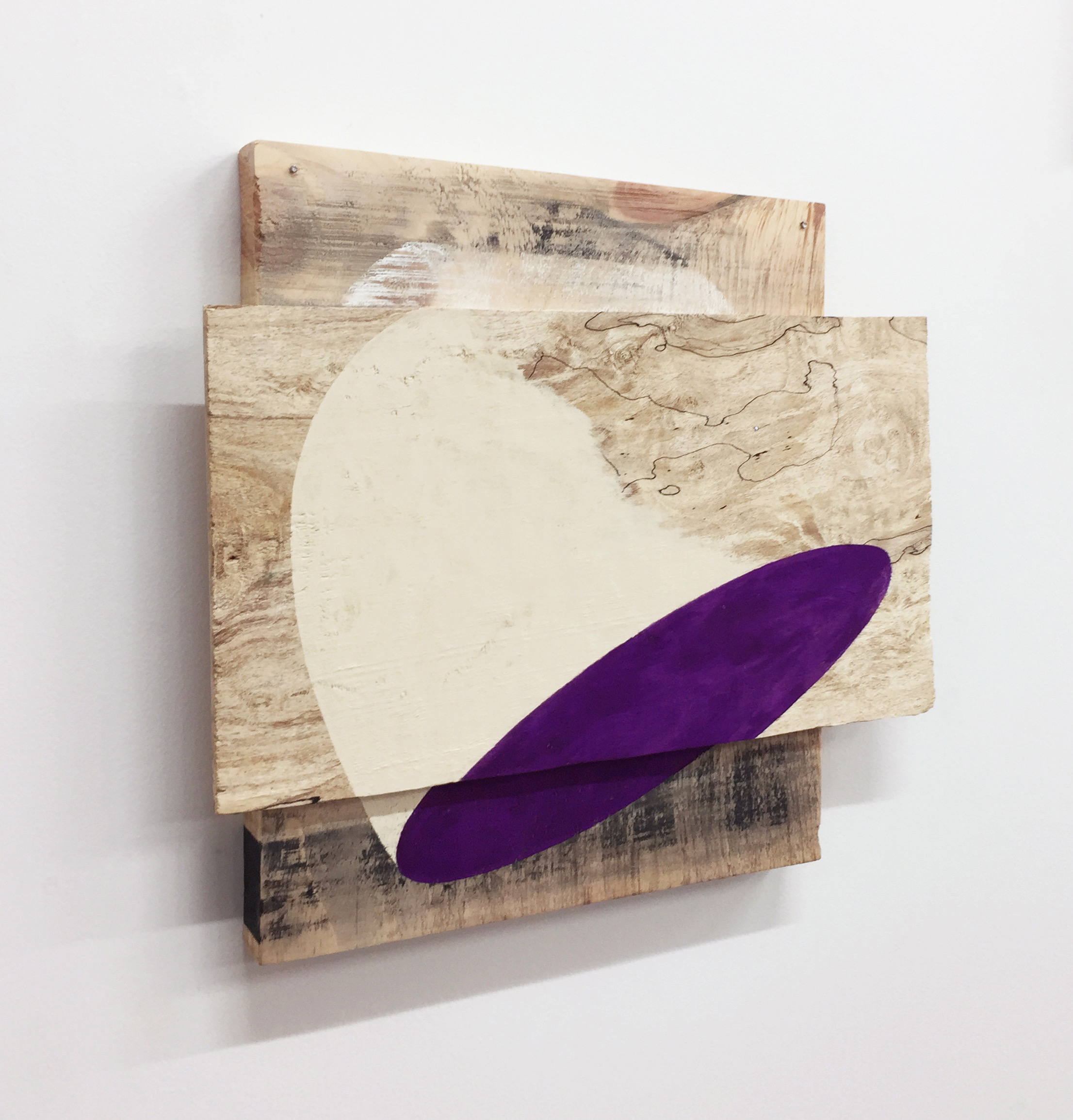 "Untitled, 2018, wood, nails, ink, gouache, flashe, 12 x 13 x 1-1/2"""