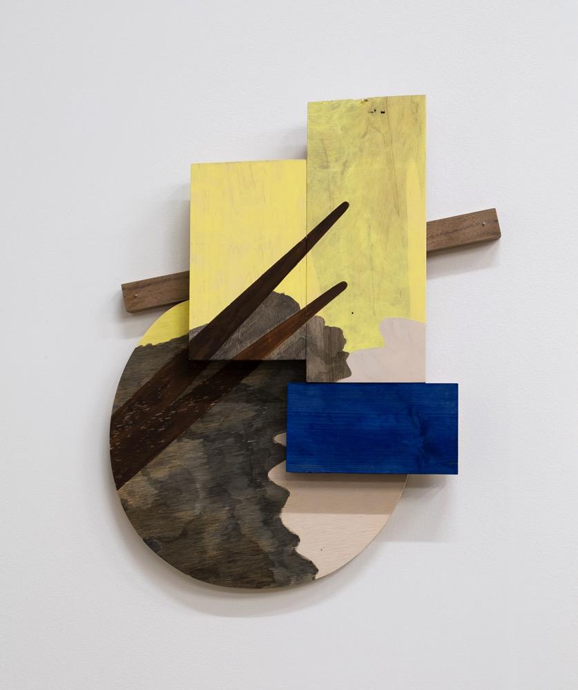 "Untitled, 2018, wood, paint, ink, nails, screws, 16-1/4 x 13-1/2 x 1-1/4"""