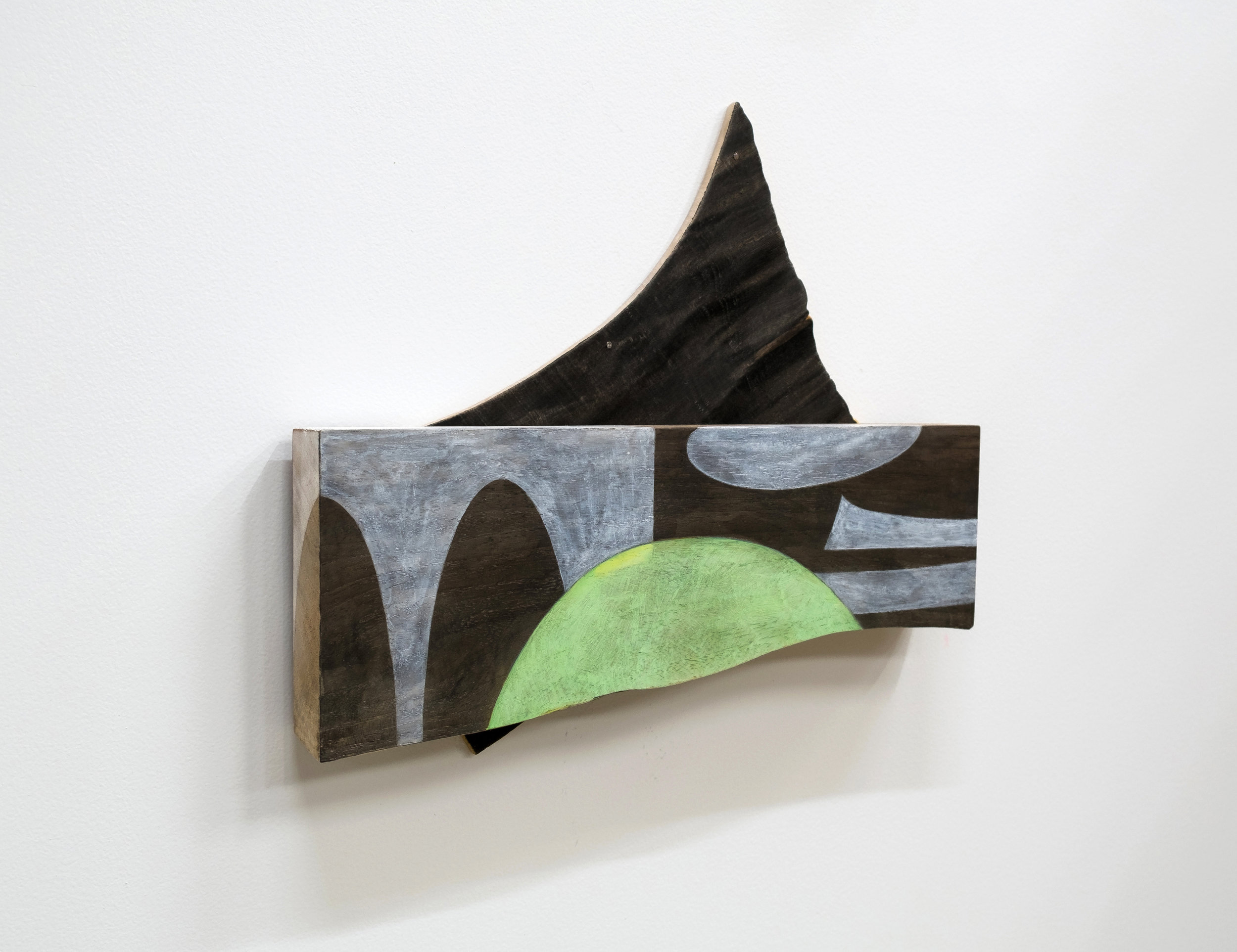 "Untitled, 2018, wood, paint, ink, nails, screws, 14 x 13-1/2 x 1-3/4"""