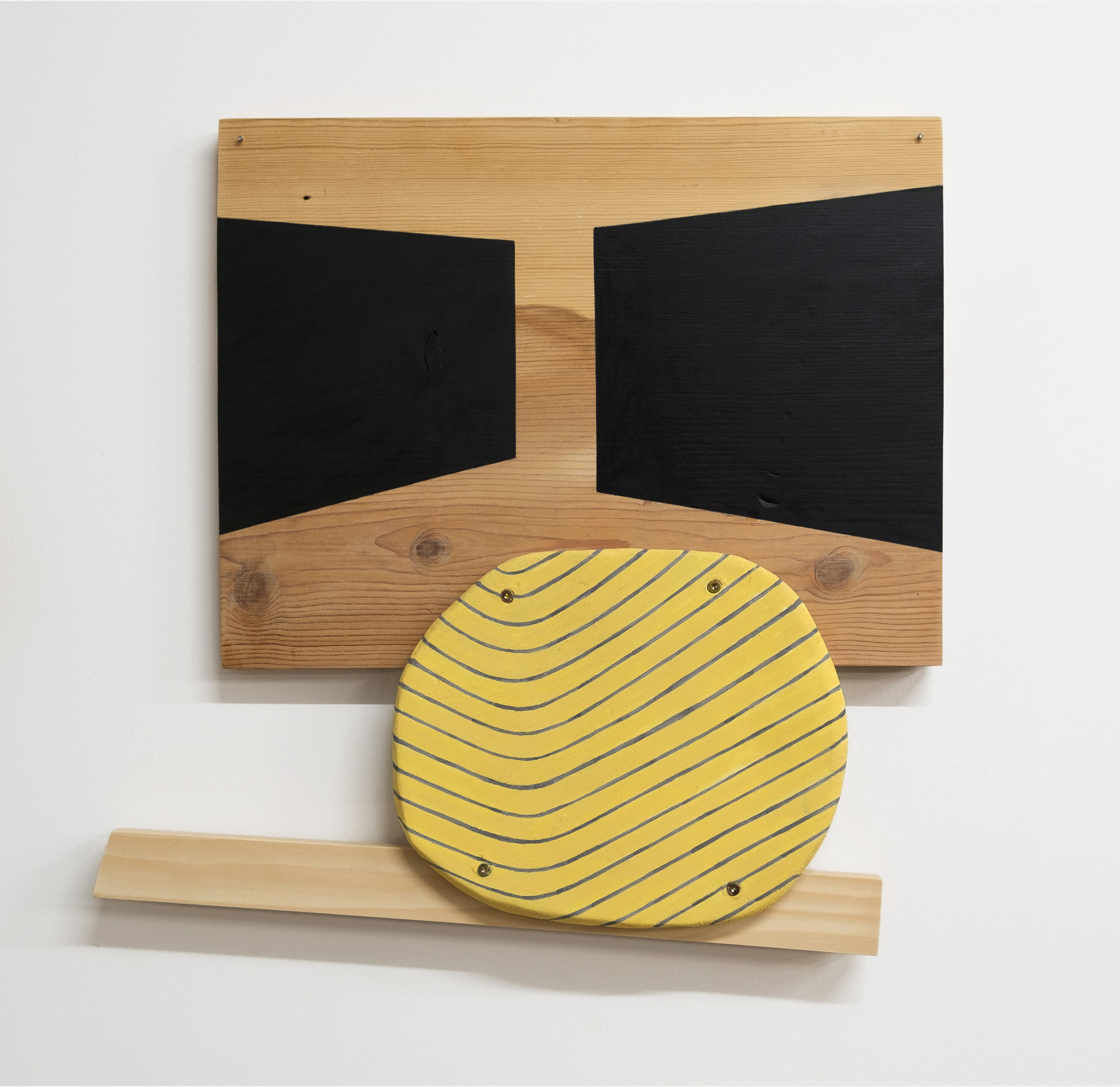 """Untitled, 2018, wood, paint, ink, nails, screws, fired clay, 17 x 17 x 2"""""""