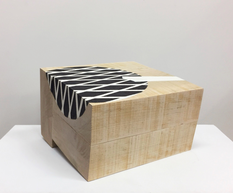 "Untitled, 2018, paint, wood, 10-1/2 x 11 x 7-3/4"""