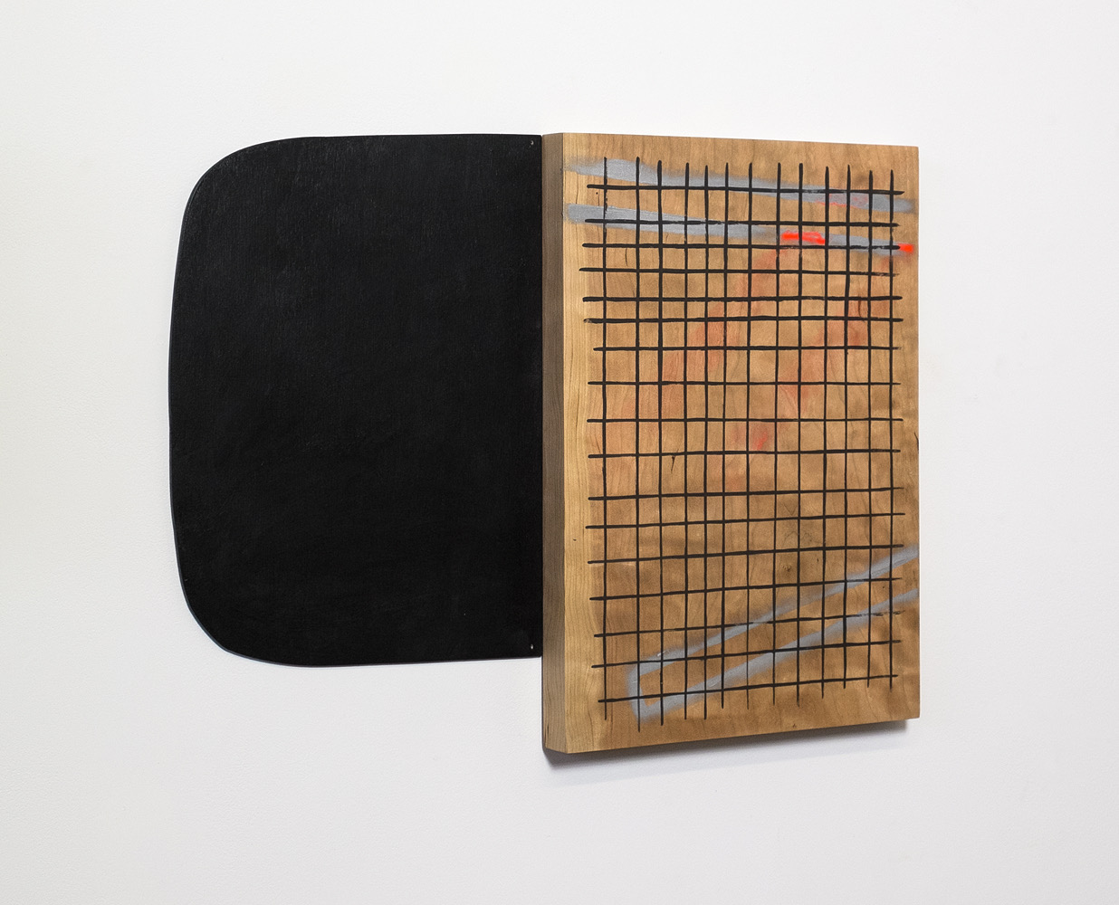 "Untitled, 2013, wood, paint, nails,  18 ¾ x 1 x 14"""