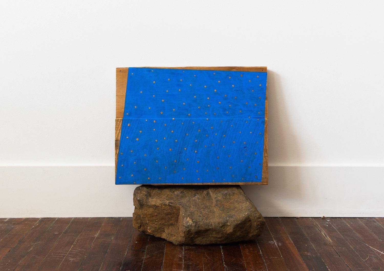 "Untitled, 2013, wood, gouache, rock, 13 ½ x 8 ½ x 14 ½"""