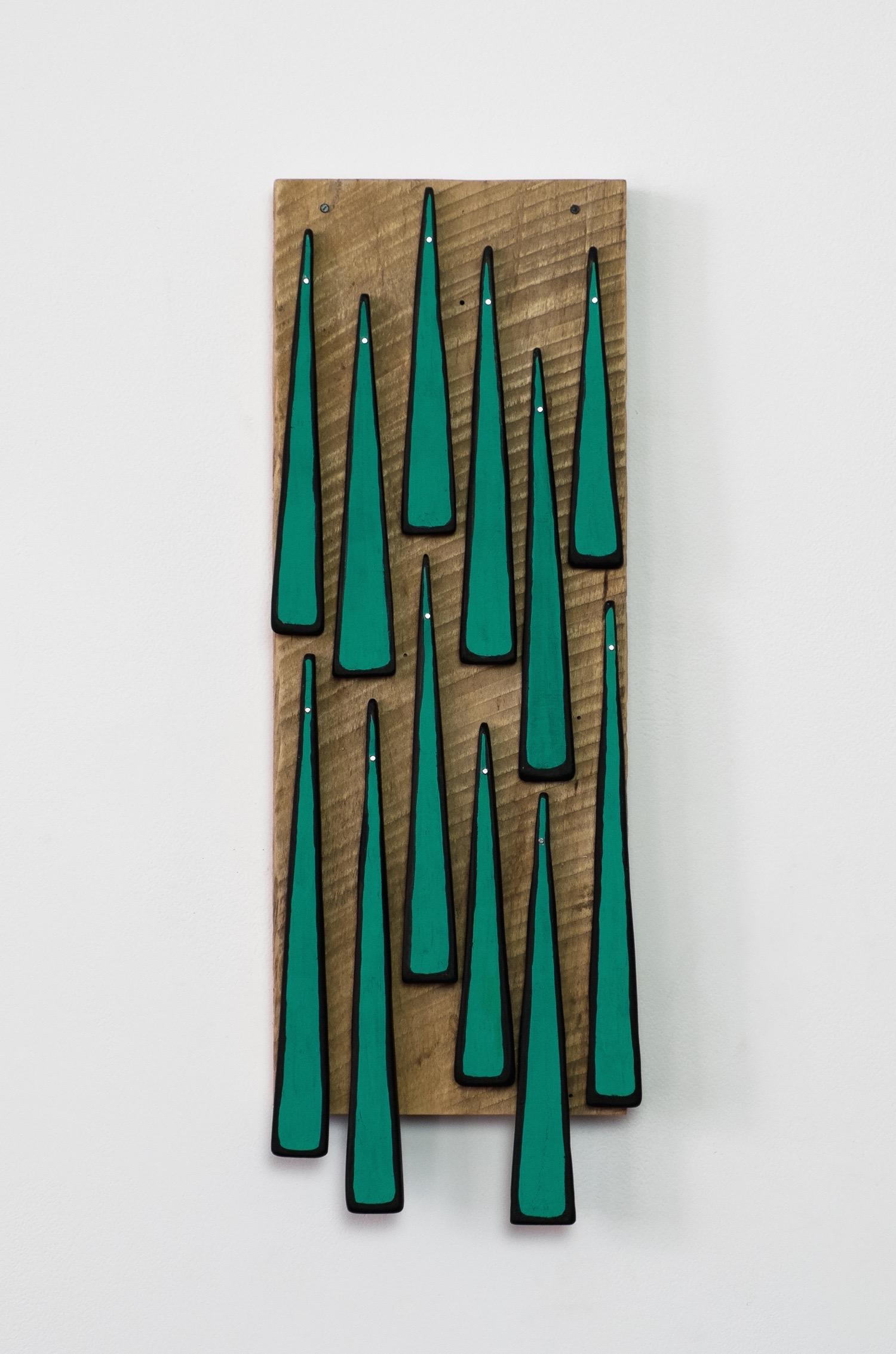 "Untitled, 2013, wood, paint, nails, 5 ¾ x 1 ¾ x 17"""