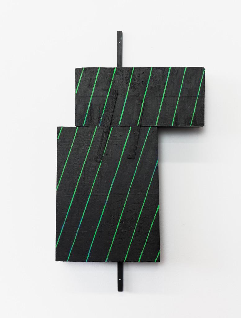 "Untitled, 2014, wood, paint, nails, 7 ½ x 2 ¼ x 13 ¾"""