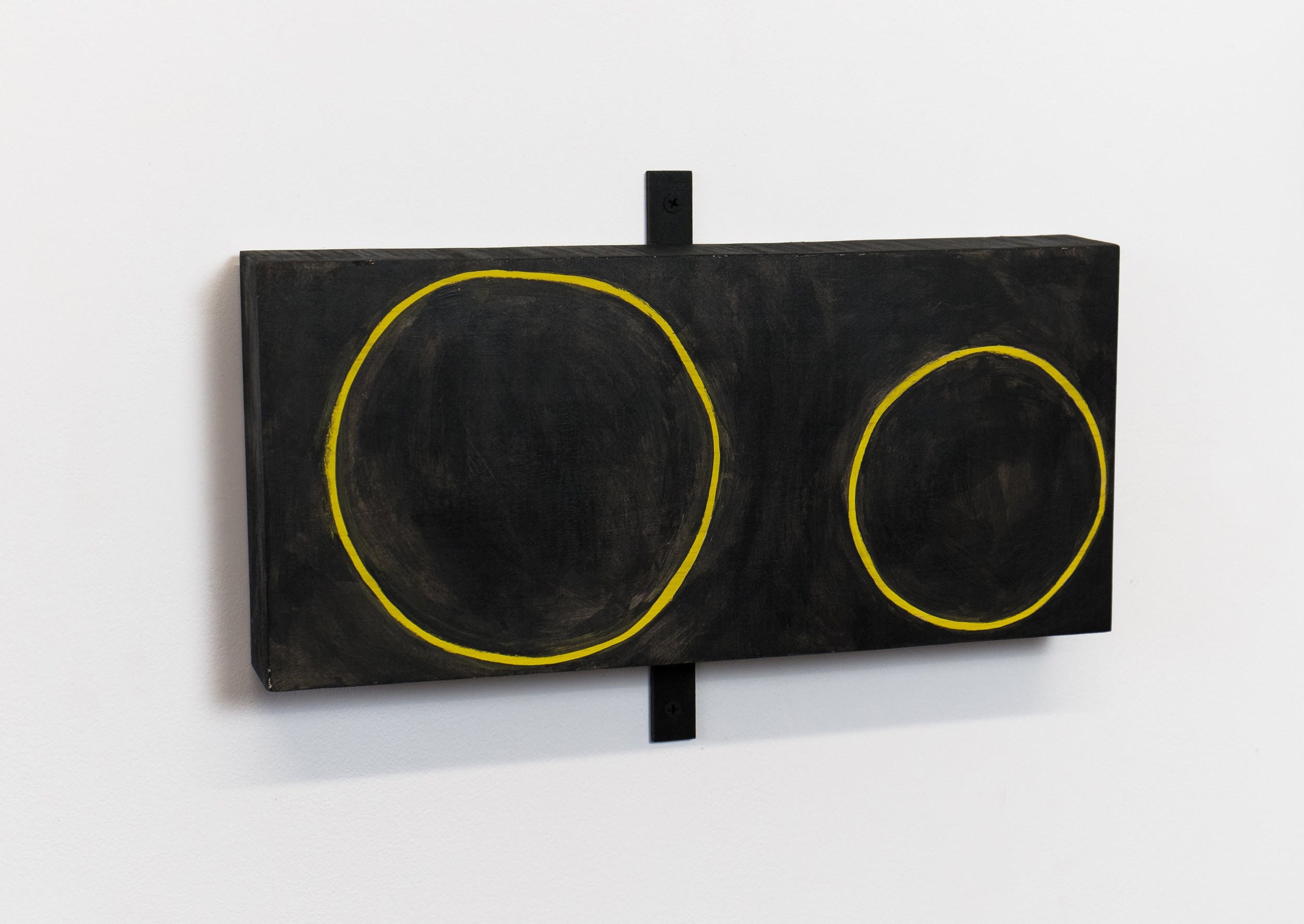 "Untitled, 2014, wood, paint, ink, screws, 14 ½ x 2 1/8 x 9 ½"""