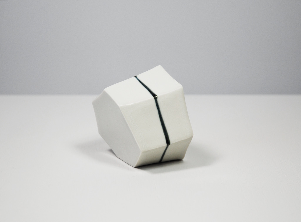 Untitled, 2011, porcelain, glaze, 3¼ x 2¼ x 3½""