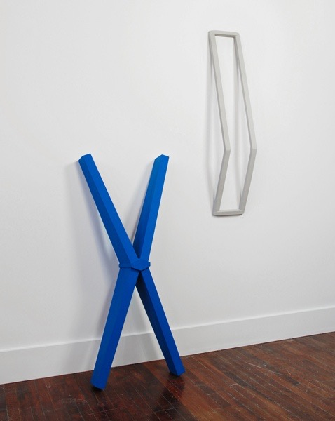 "Installation View, 2011, wood, paint, left 15 x 6 x 35 ¾""; right 6 ½ x 5 x 34"""