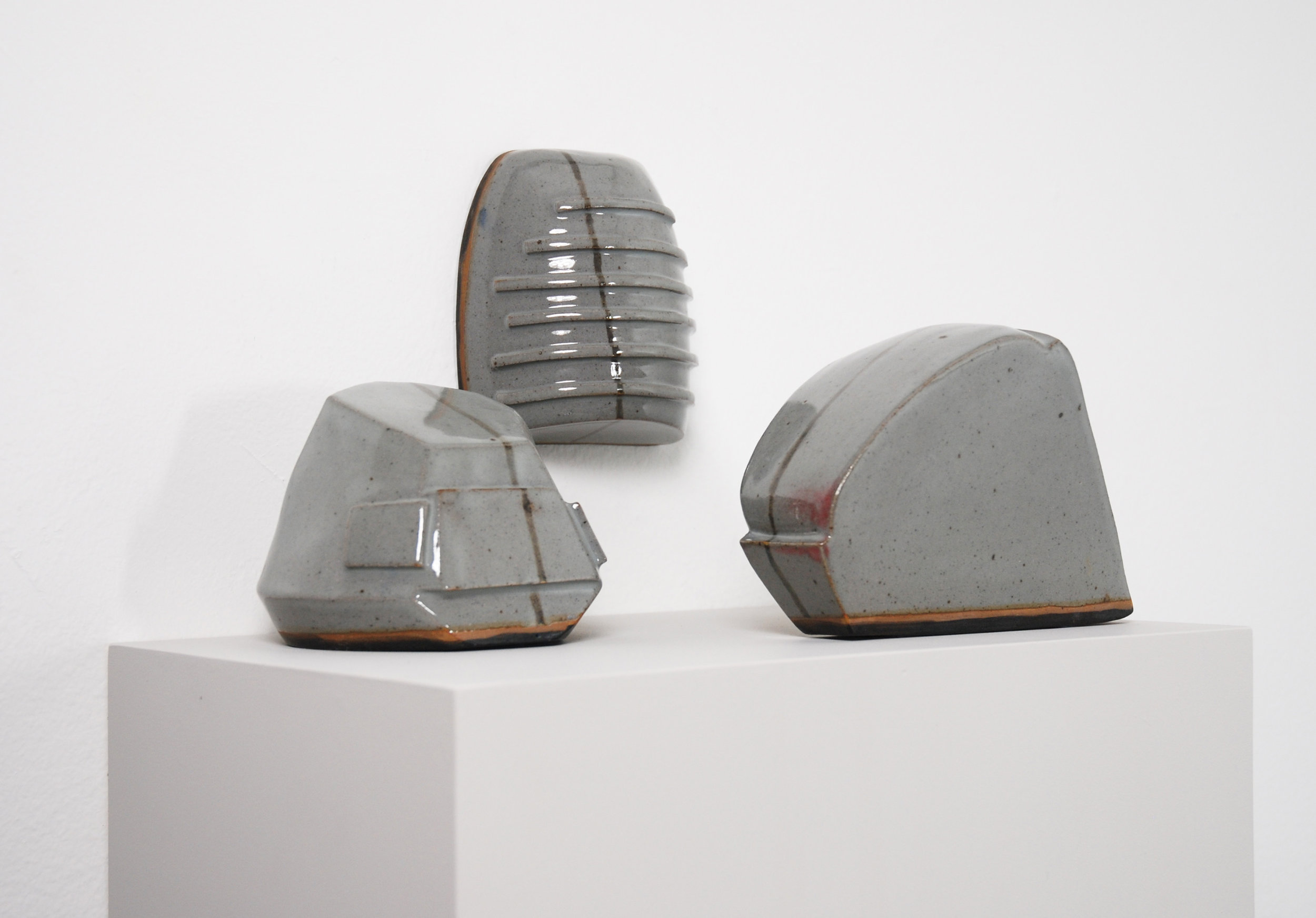 Untitled, 2011, ceramic, glaze, wood, dimensions variable
