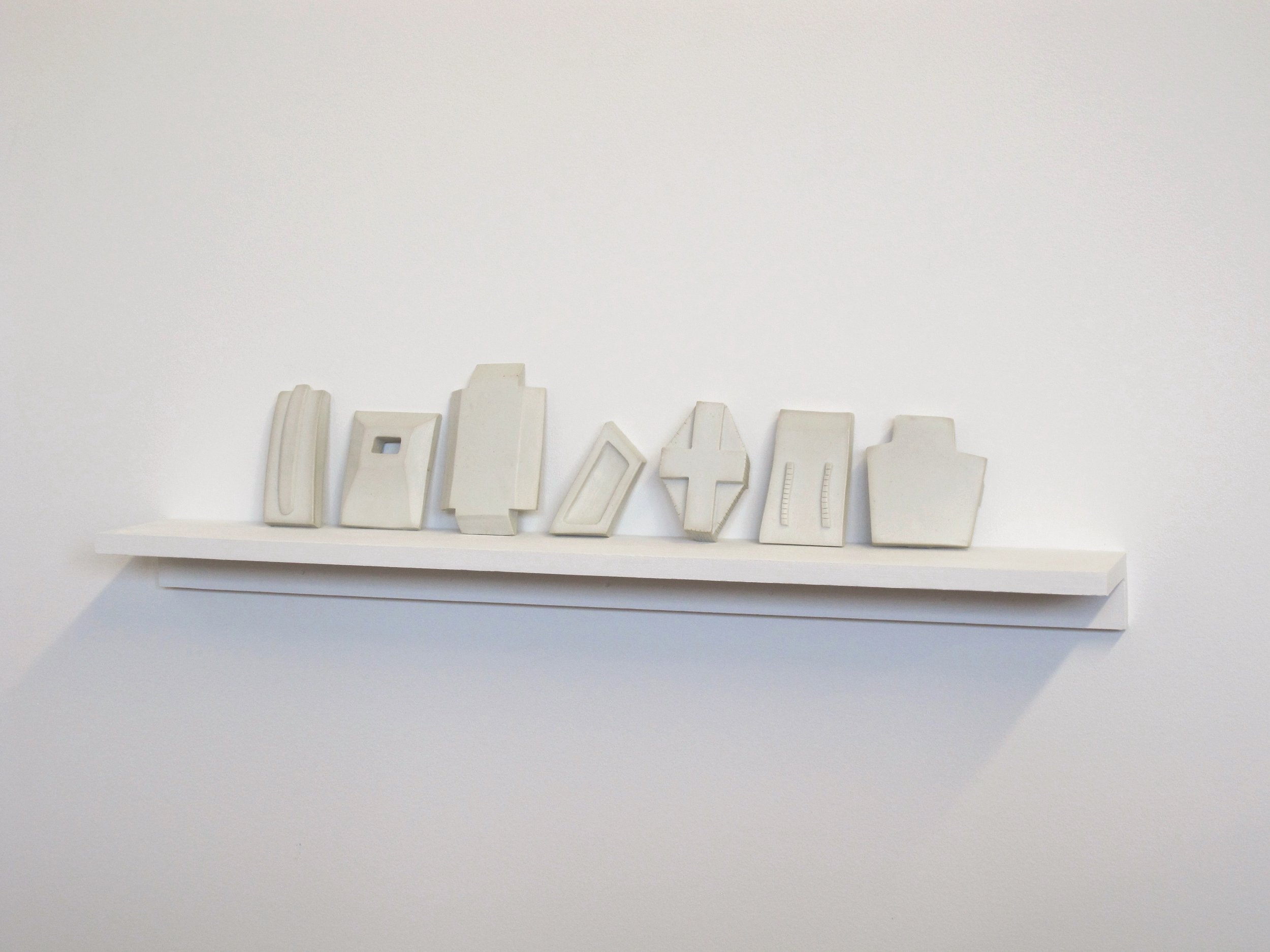 "Untitled, 2012, porcelain, 24 x 3 ½ x 6"" including shelf"
