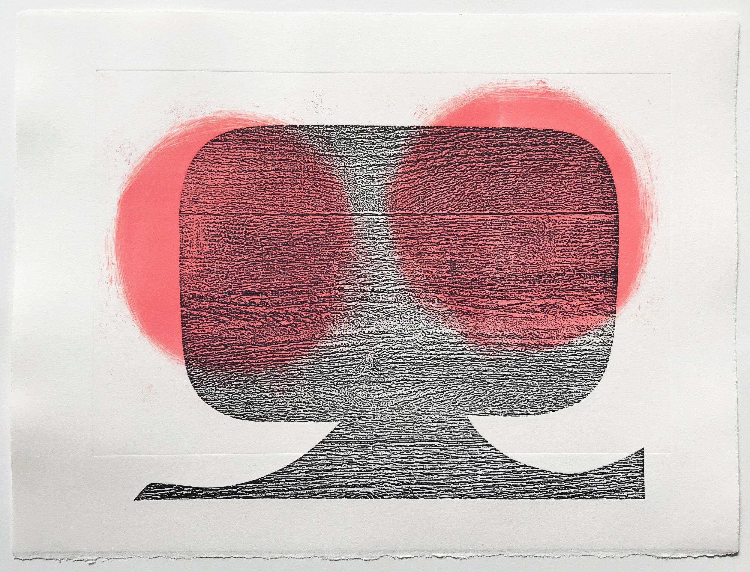 "Untitled (no. 2), 2018, unique collagraph and monoprint, 11-1/4 x 15"""