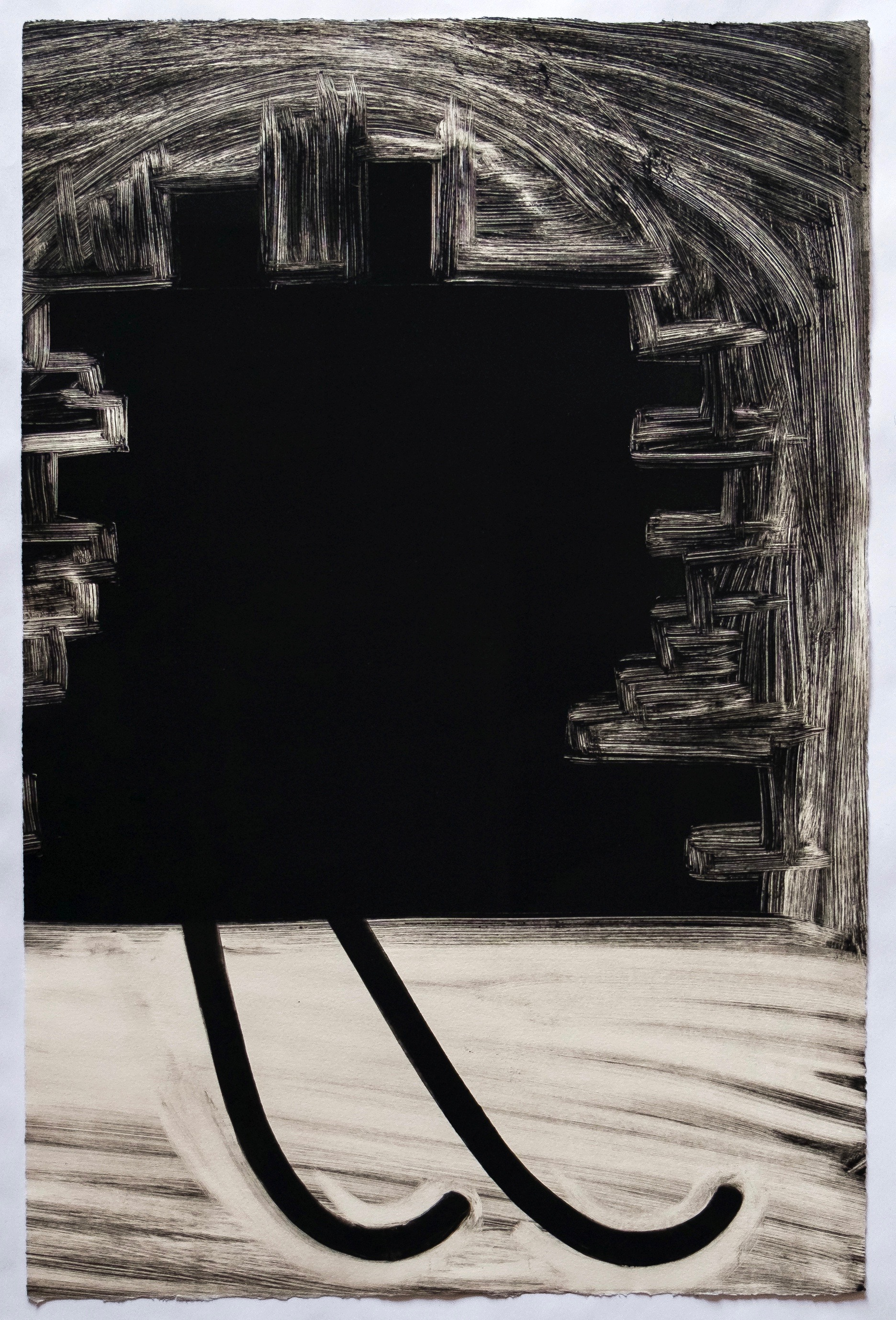 "Untitled, 2019, monotype, 22-1/4 x 14-3/4"""