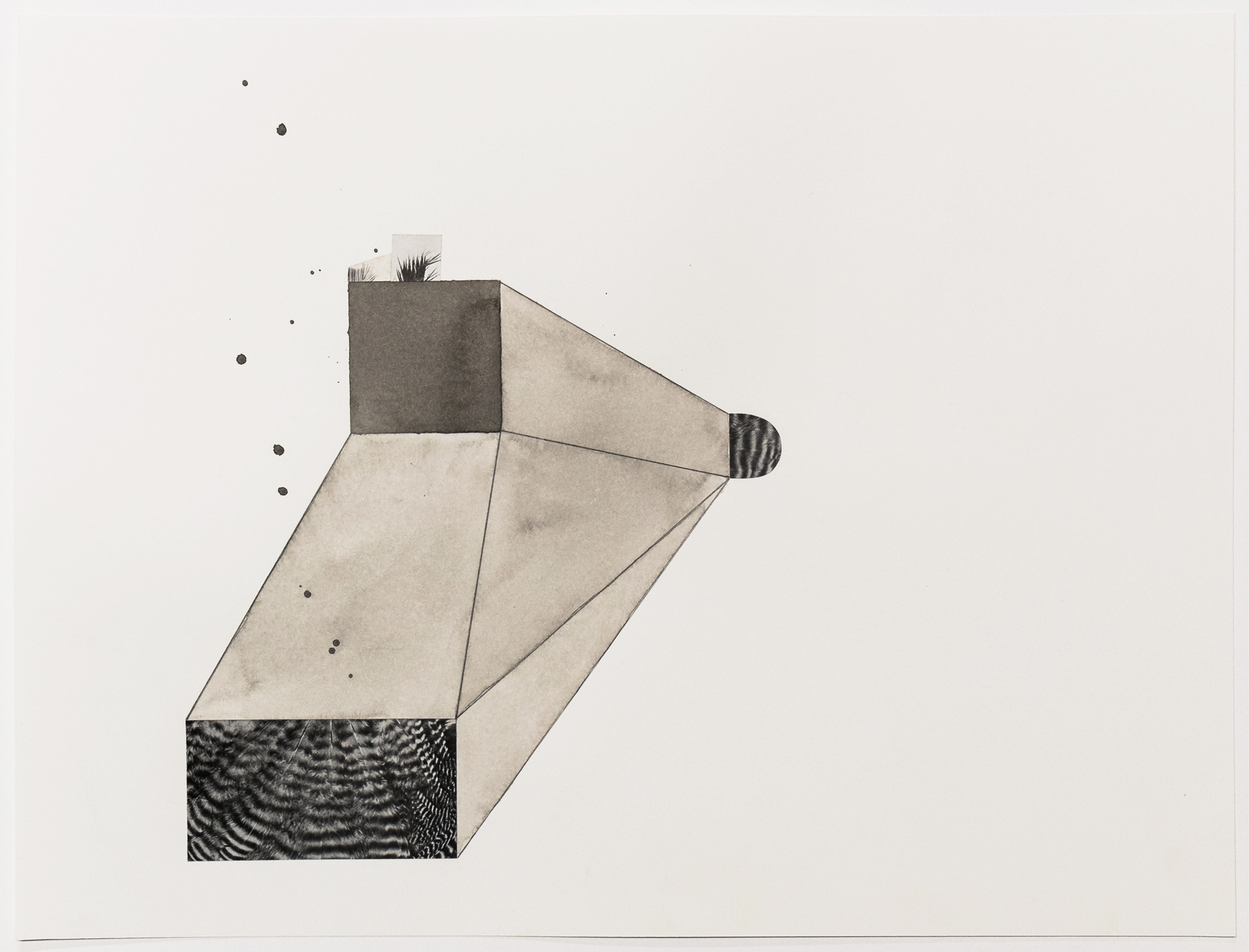 Untitled (no. 13), 2013, ink, collage on paper, 12 x 16""