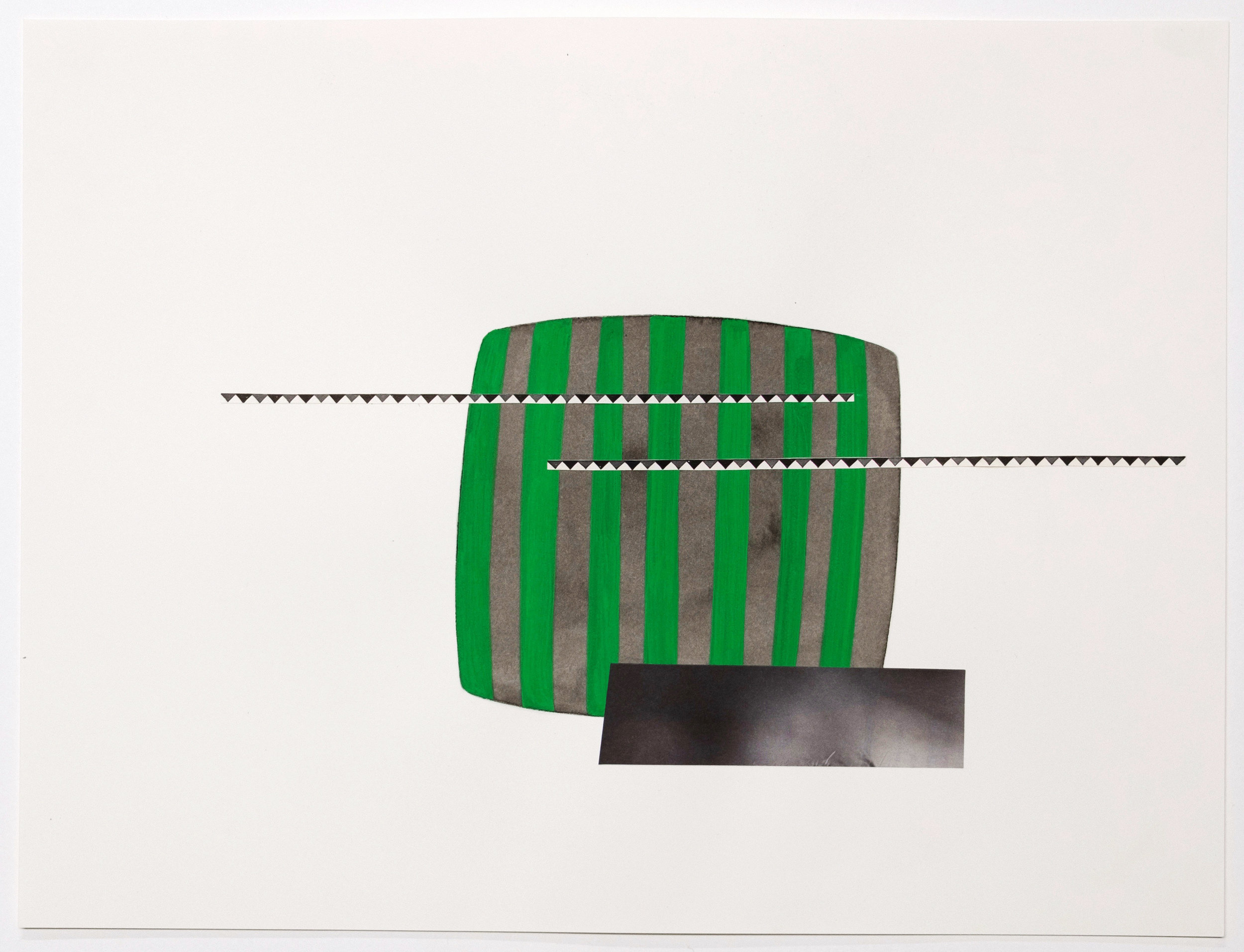 Untitled (no. 24), 2013, ink, gouache, collage on paper, 12 x 16""
