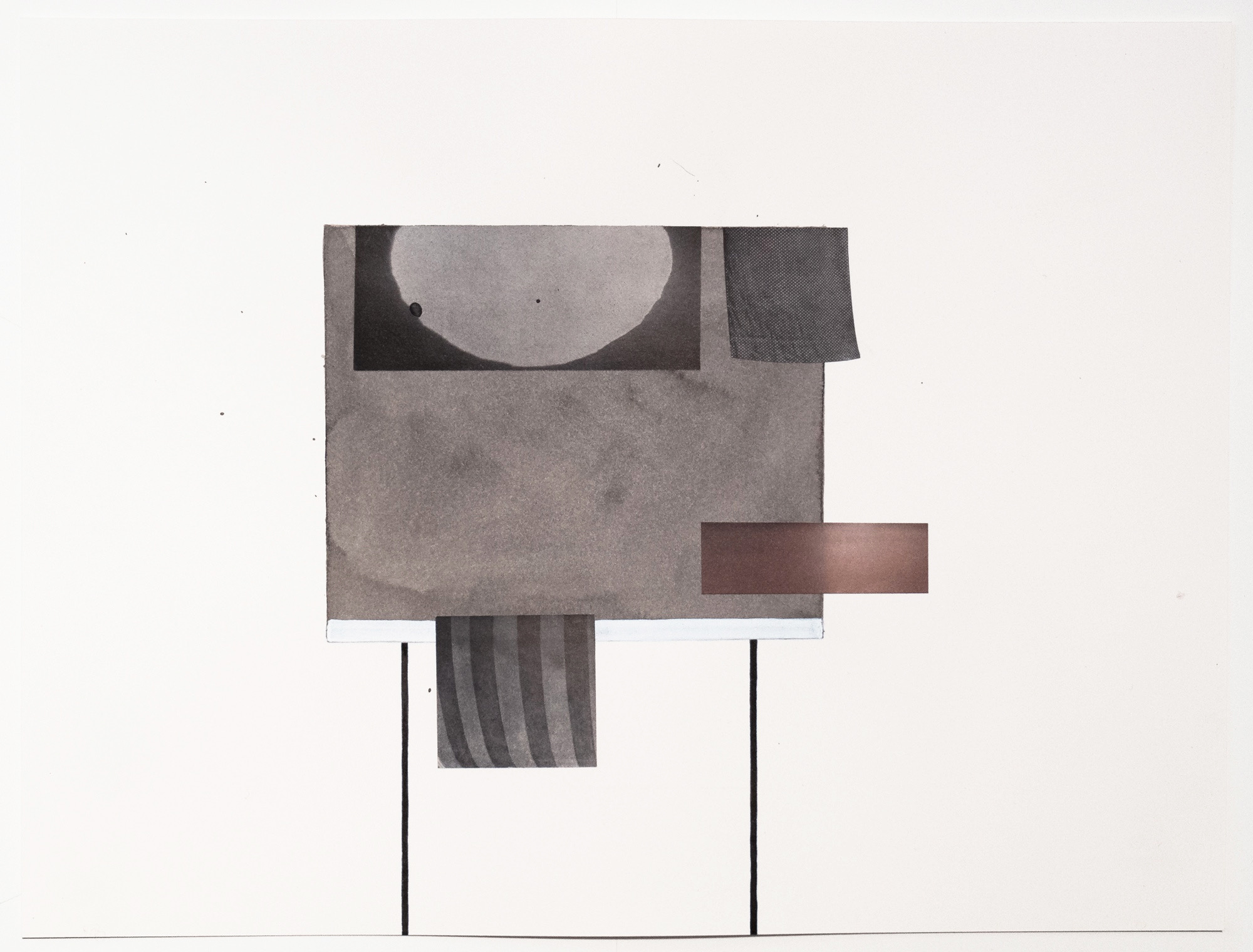 Untitled (no. 45), 2013, ink, collage on paper, 12 x 16""
