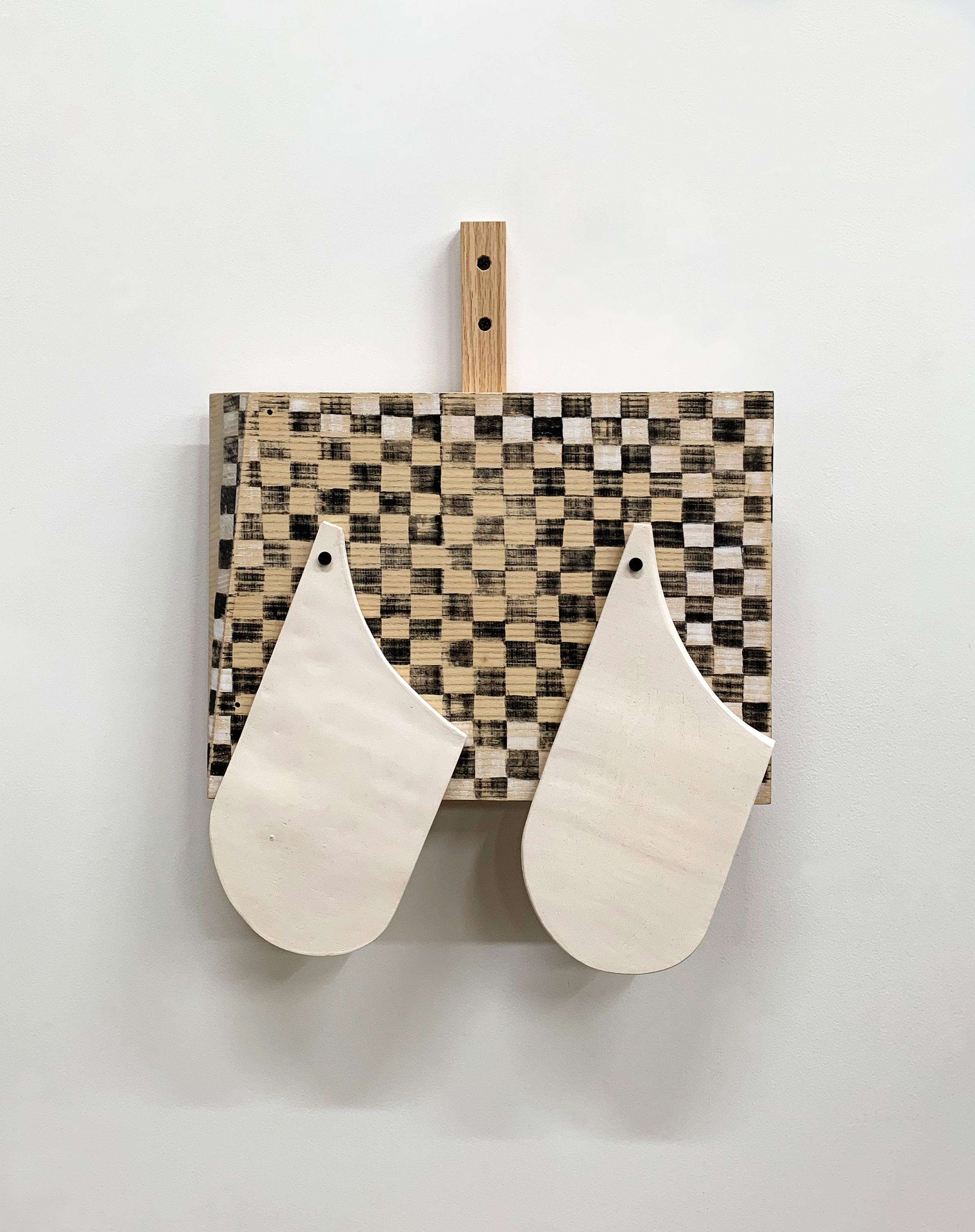 Untitled, 2019, wood, paint, earthenware, screws