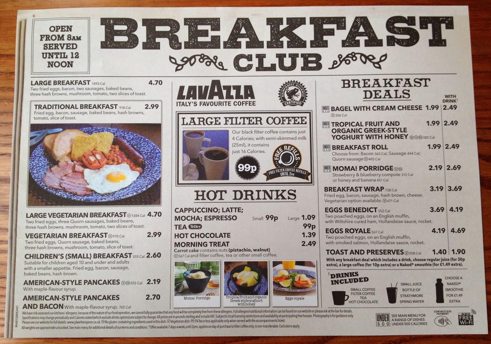Weatherspoon breakfast menu