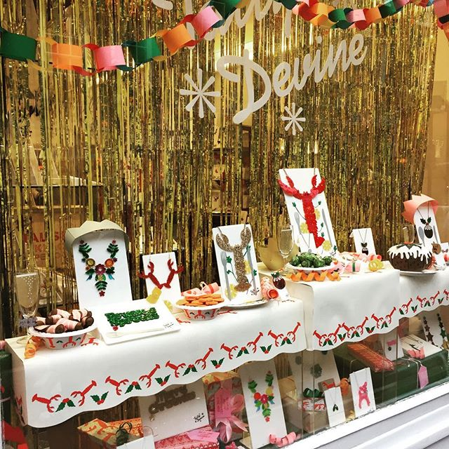 Festive shop windows. Tatty Devine's food themed jewellery display