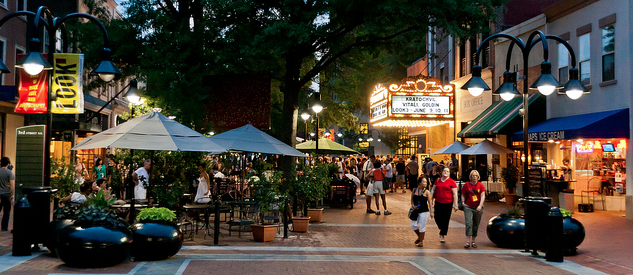 One of Charlottesville's most popular places- the Downtown Mall
