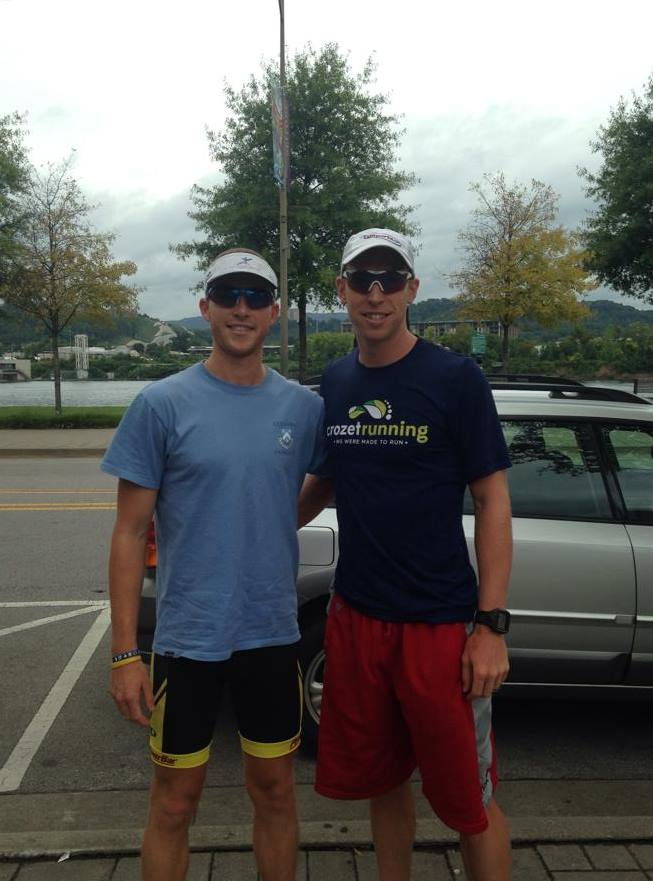 Anthony Wind and I on the Riverfront over Labor Day- 1 month before IM Chattanooga