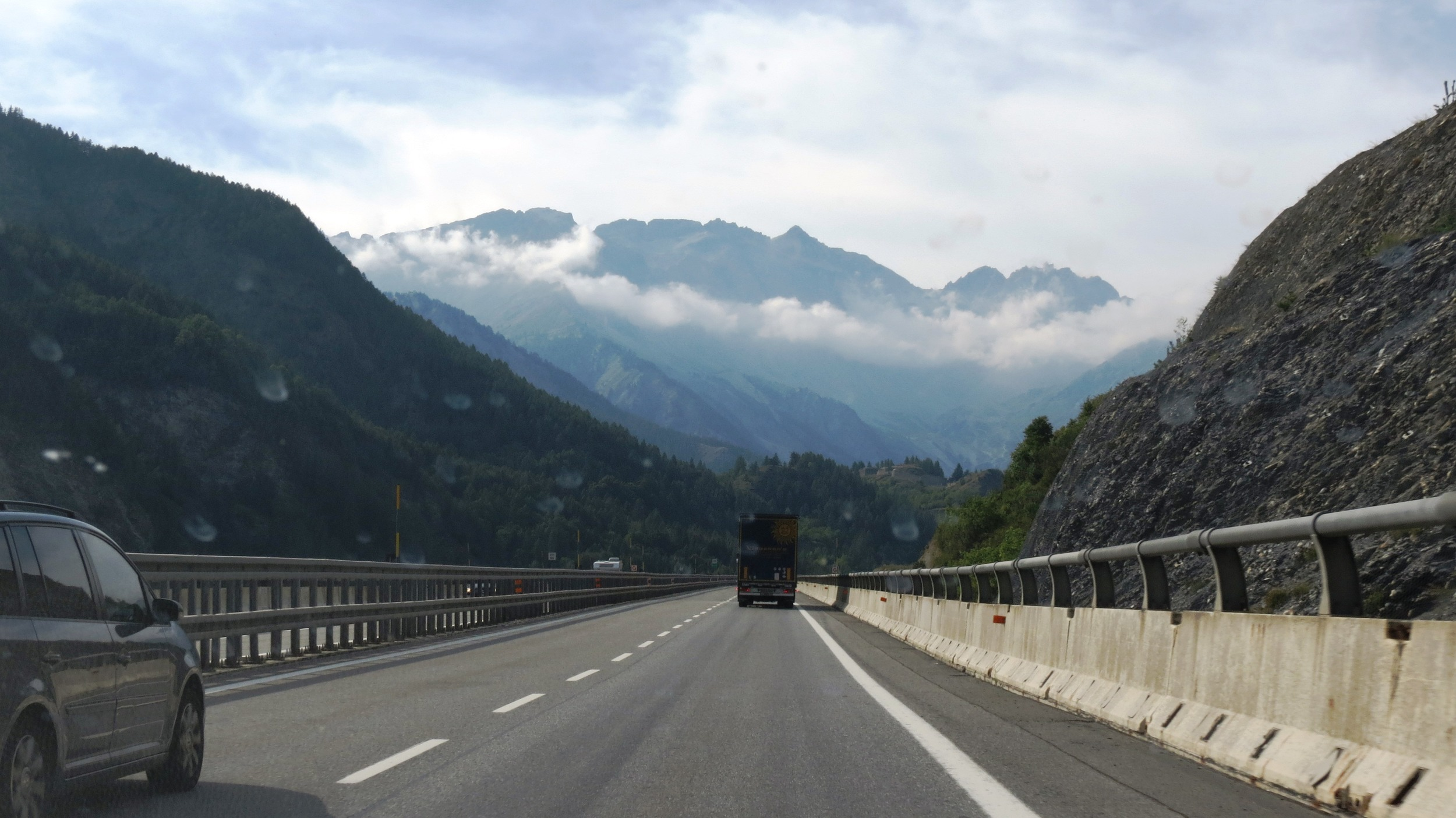 View of the Italian Alps on our way to France.