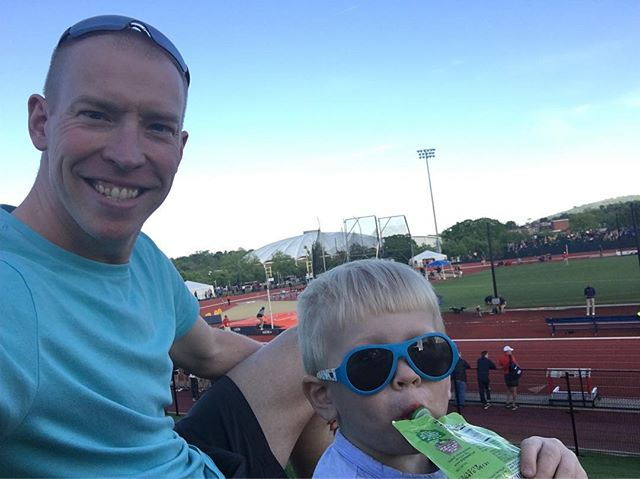 Enjoying the @uvatfcc track meet with my little man!  A great way to spend a Saturday night. #trackandfield #fast #littleman #babiators #dad #track