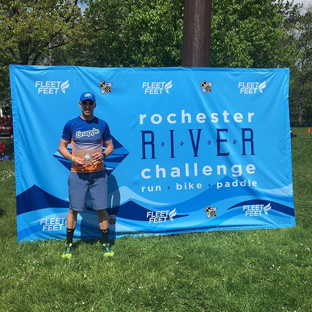 Happy to start the 2019 season with a win at the @yellowjacketracing @rochesterny River Challenge duathlon! New Course record thanks to @trekbikes @rudyprojectna @salmingrunningnorthamerica @raggedmountainrunning @garneau #snappletriteam #snappletriathlonteam #tired #race #rustbuster