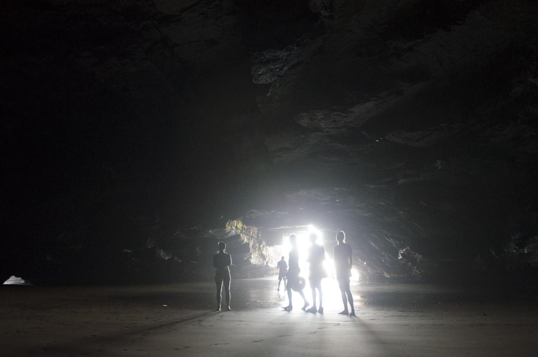Exploring caves at low tide
