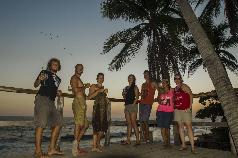 Left to right: Matty, John, Mandi, Stefy, Kai, Sunny and Karen enjoying classic sunset cocktails