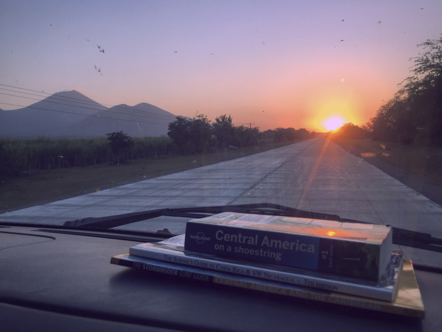 First sunset in Nicaragua as we head South on the highway