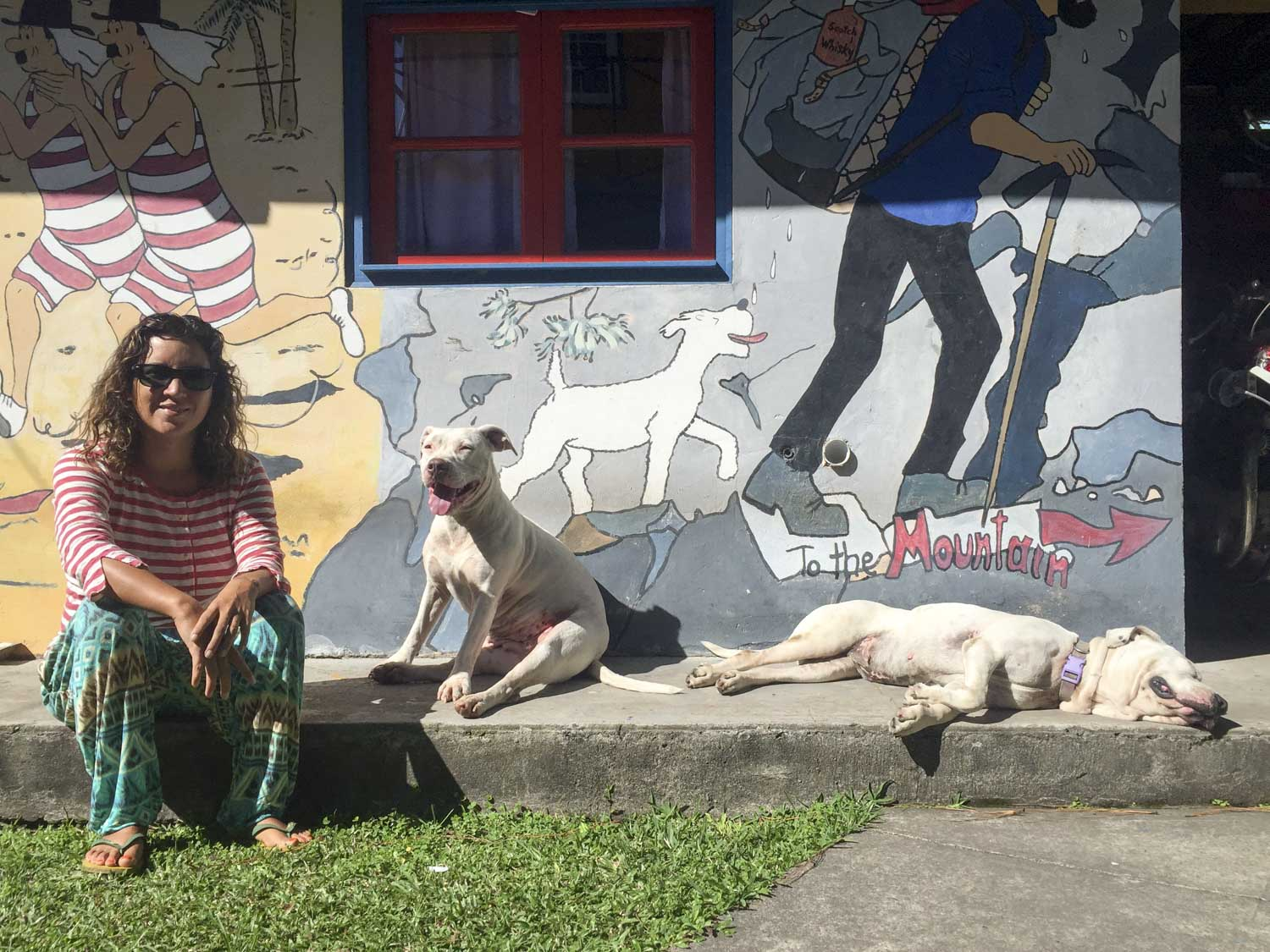 Hanging out at our TIn Tin themed hostel