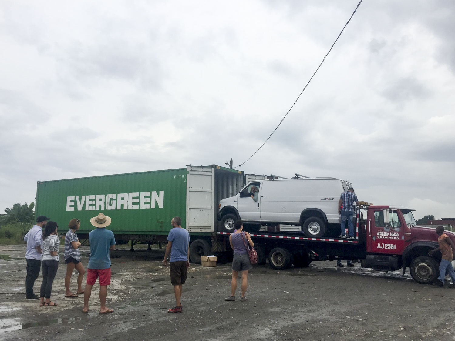 Loading the van in the container